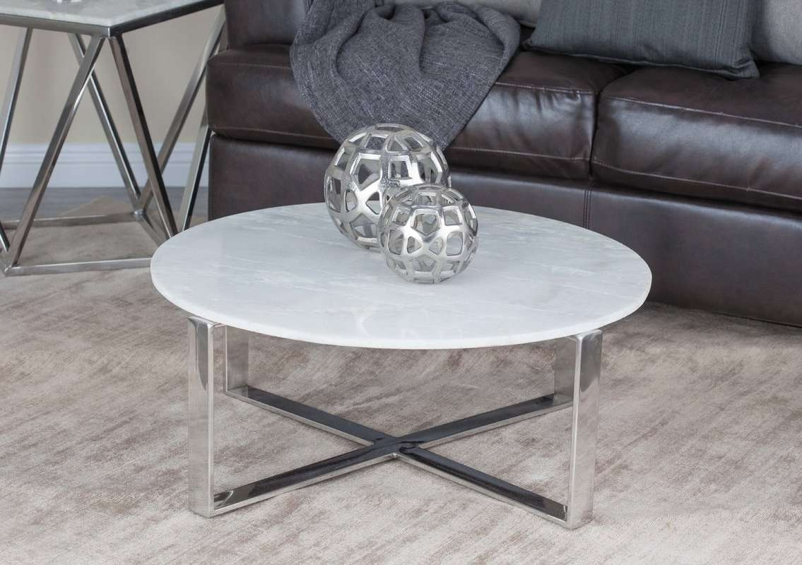 Latest Marble Coffee Tables Intended For Cole & Grey Stainless Steel/marble Coffee Table & Reviews (View 16 of 20)