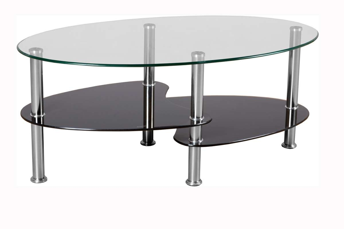 Latest Oval Black Glass Coffee Tables Throughout Contemporary Modern Glass Top Coffee Table With Stainless Steel (View 7 of 20)