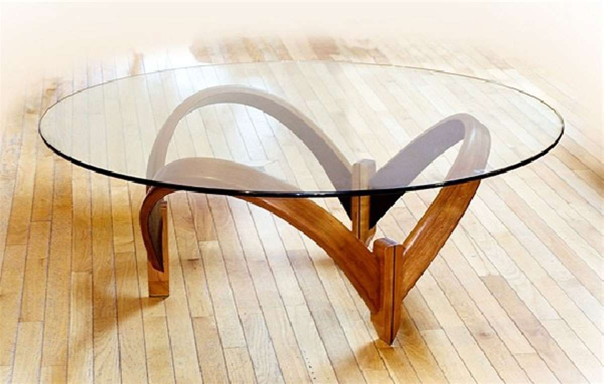 Latest Round Glass Coffee Tables Within Furniture: Round Glass Top Curved Wooden Base Modern Contemporary (View 12 of 20)