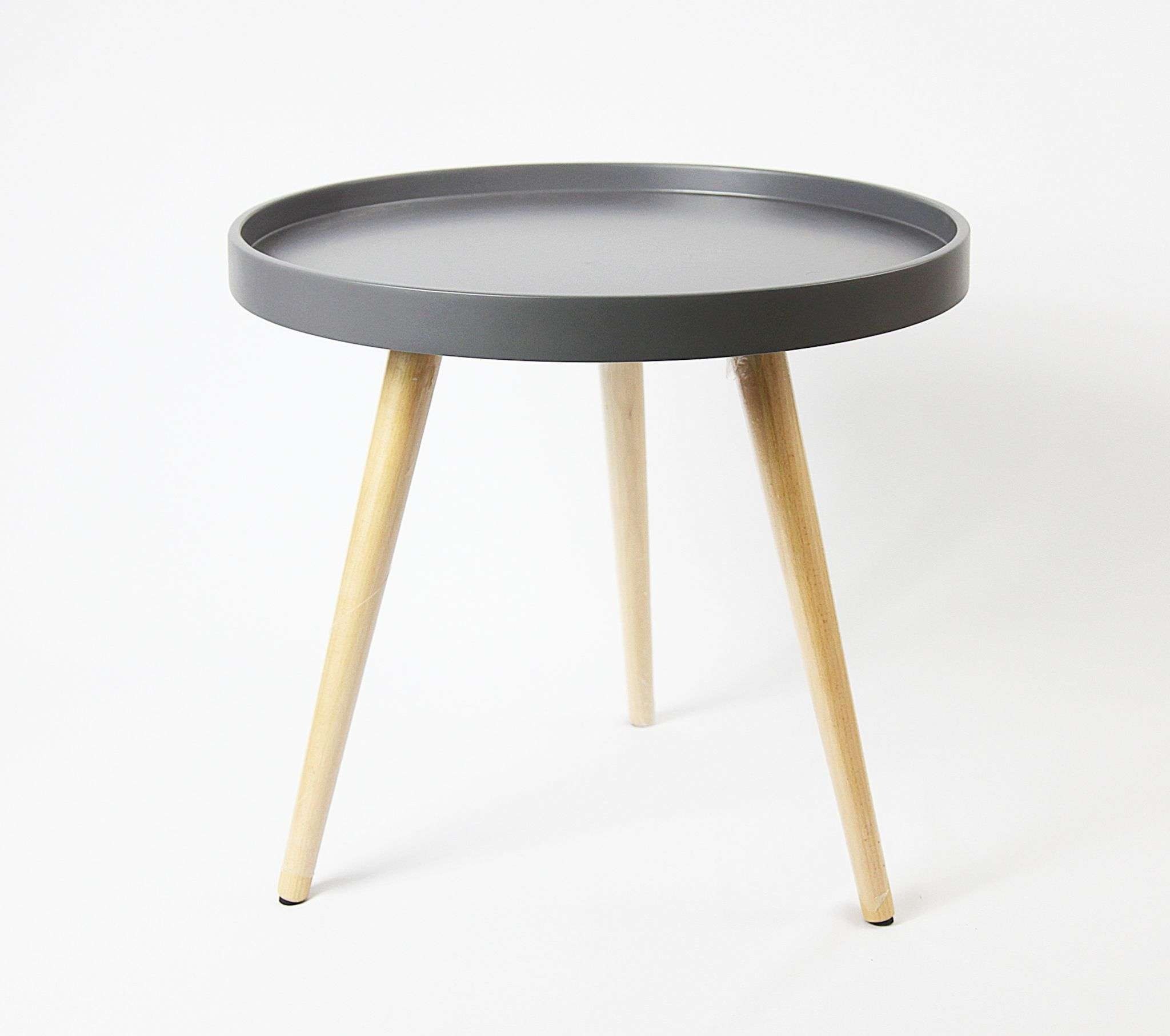 Latest Round Tray Coffee Tables Regarding Capri Round Tray Table In 50Cm – Grey Matt (View 11 of 20)
