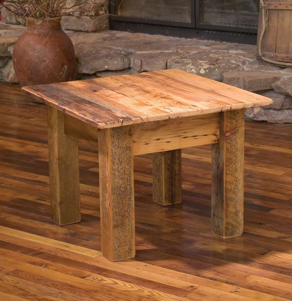 Latest Rustic Barnwood Coffee Tables In Teton End Table (View 7 of 20)