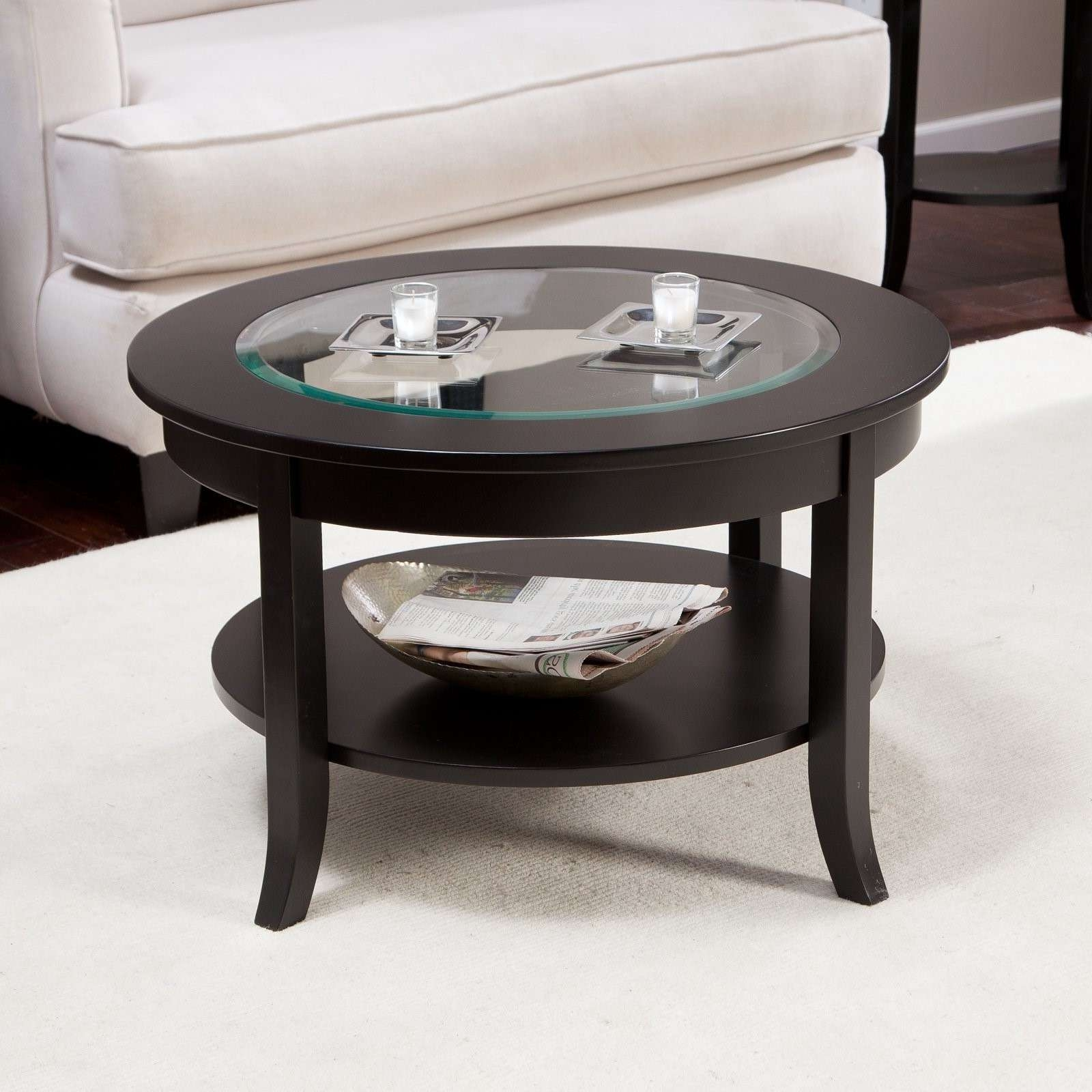 Latest Small Coffee Tables With Shelf Throughout Black Modern Glass Top Small Round Coffee Tables With Shelf Ideas (View 12 of 20)