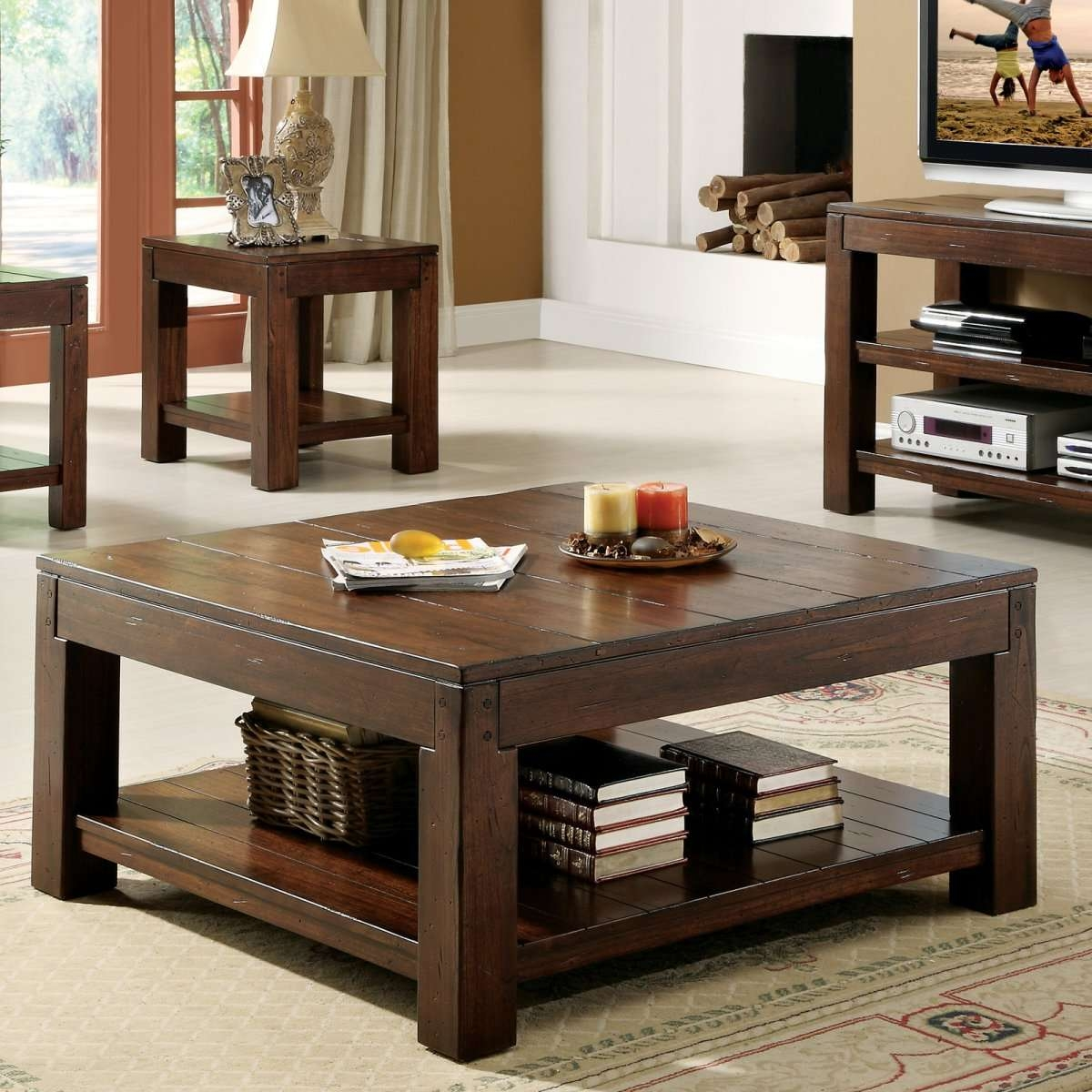 Latest Square Coffee Tables With Coffee Tables : Simple Dark Brown Square Coffee Table Sets (View 8 of 20)