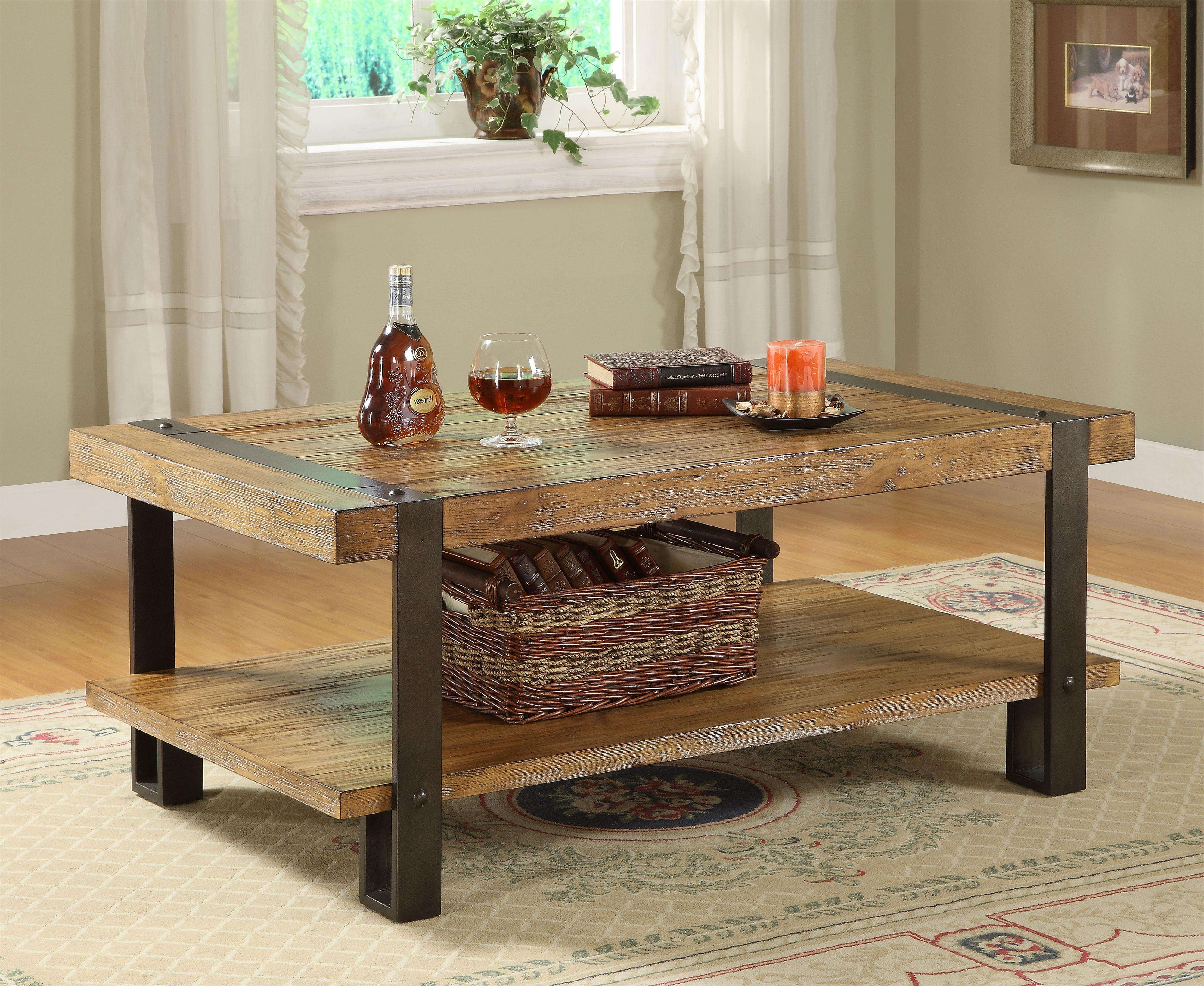 Latest Square Wood Coffee Tables With Storage Regarding Old And Vintage High Low Square Wood Coffee Table With Shelves And (View 15 of 20)