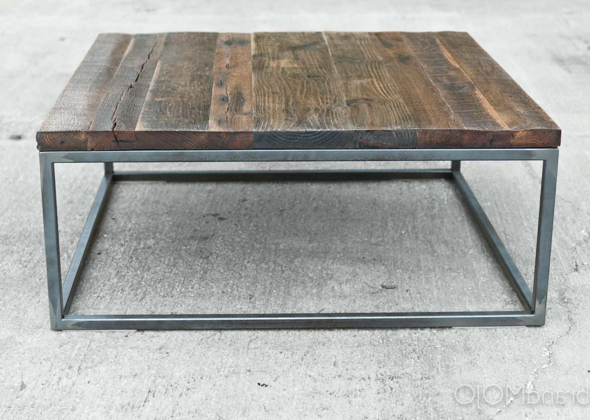 Latest Square Wooden Coffee Tables Throughout Reclaimed Wood Coffee Table Steel Base Industrial Table (View 11 of 20)