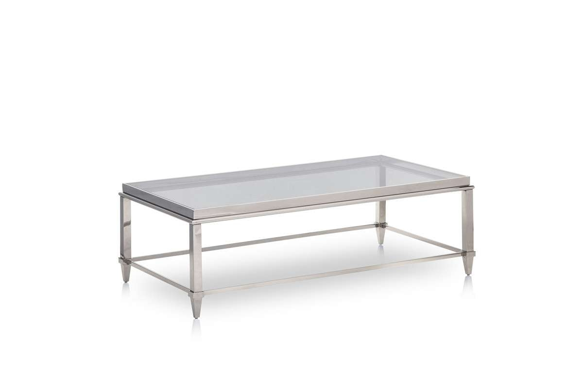 Latest Steel And Glass Coffee Tables Regarding Agar Modern Glass & Stainless Steel Coffee Table (View 9 of 20)