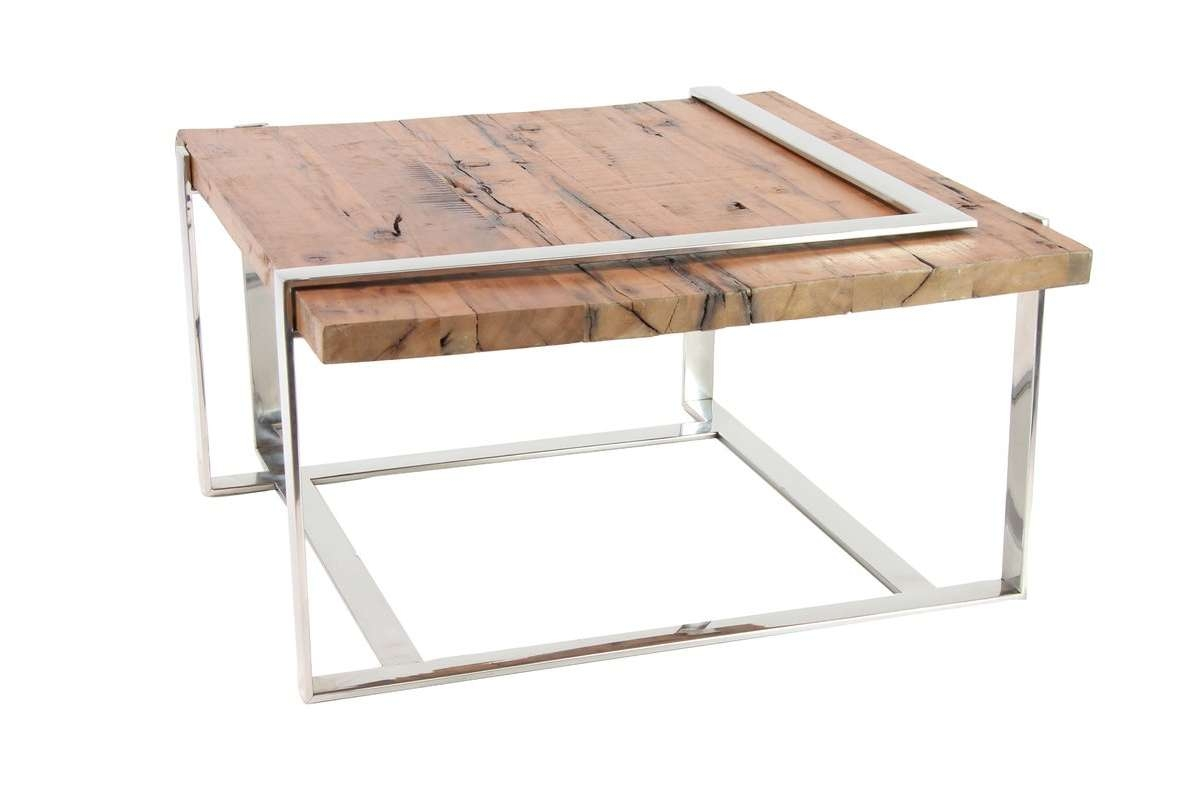Latest Steel And Wood Coffee Tables With Regard To 17 Stories Queena Modern Stainless Steel And Wood Coffee Table (View 13 of 20)