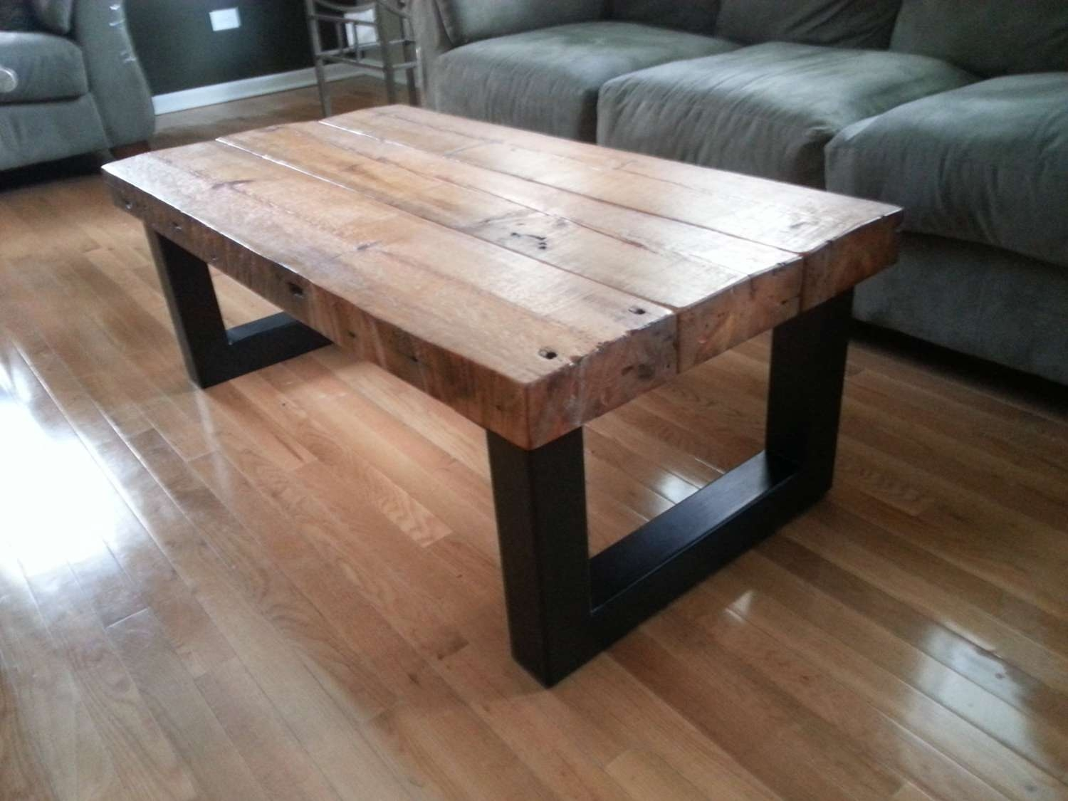 Latest Wood And Steel Coffee Table For Coffee Table : Metal And Woode Table Barnwood Custom Base Rustic (View 7 of 20)