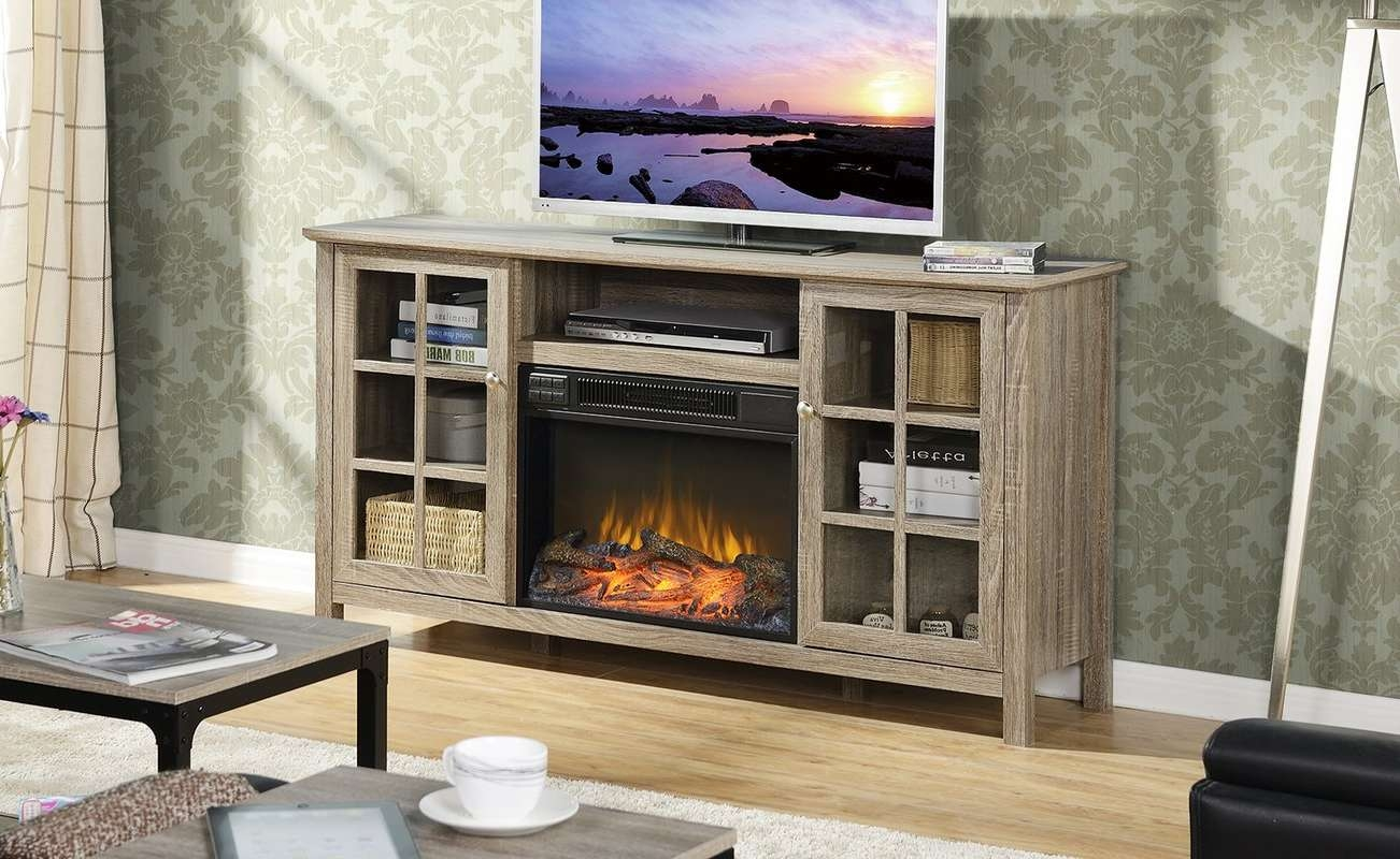 """Laurel Foundry Modern Farmhouse Benoit 60"""" Tv Stand With Fireplace For Baby Proof Contemporary Tv Cabinets (View 17 of 20)"""
