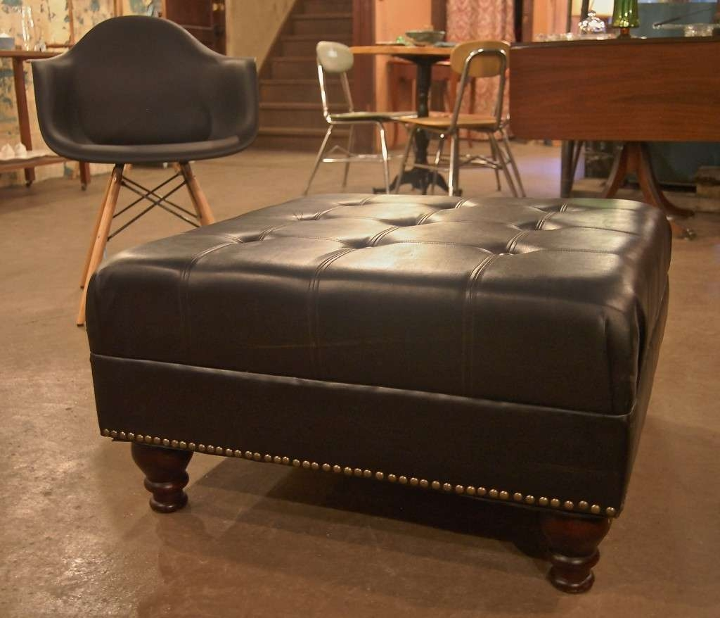 Leather Ottoman Coffee Table With Small Leather Ottoman Coffee Regarding Recent Brown Leather Ottoman Coffee Tables With Storages (View 9 of 20)