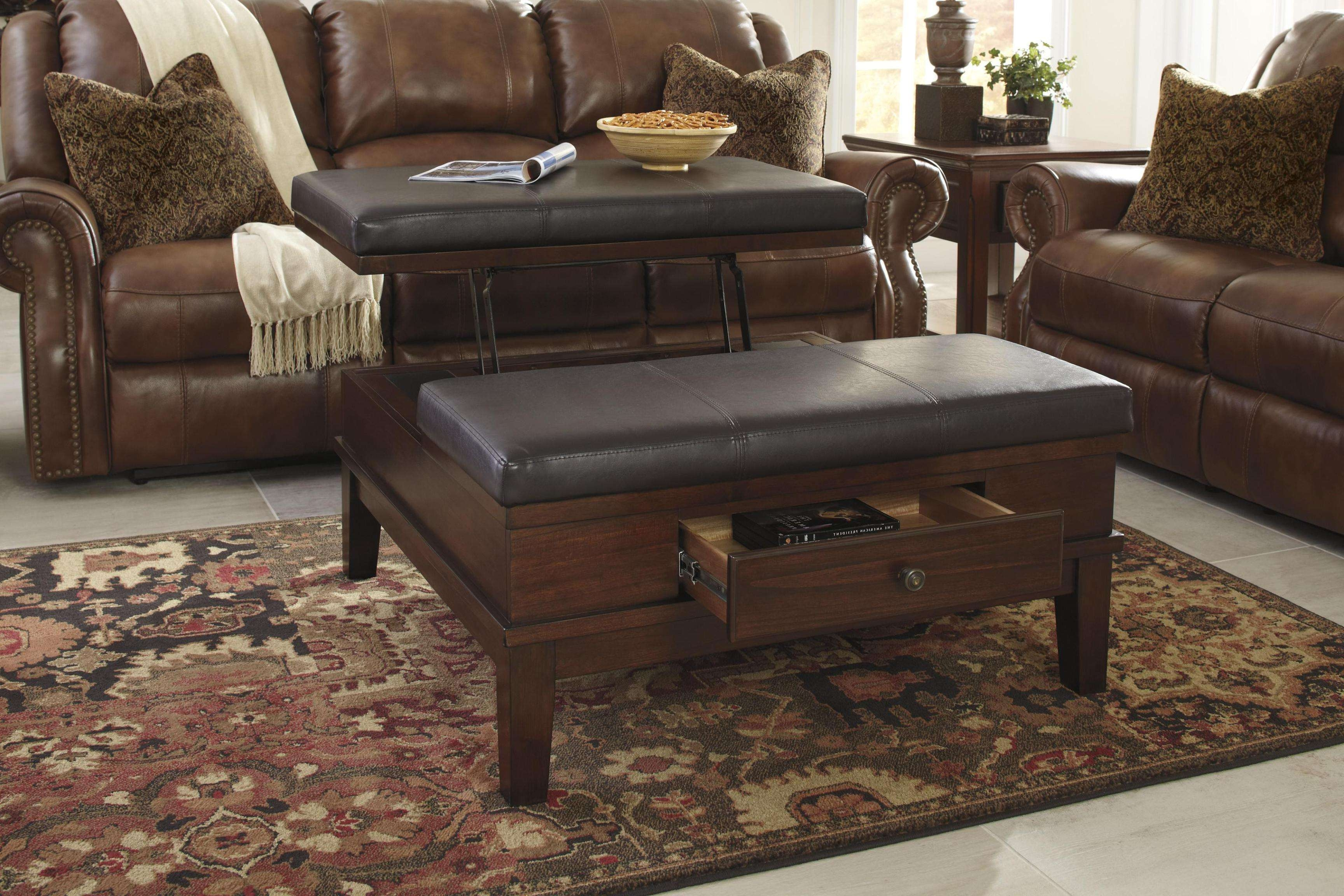 Leather Ottoman Coffee Table With Storage Ottoman With Shelf With Throughout Well Known Brown Leather Ottoman Coffee Tables (View 14 of 20)