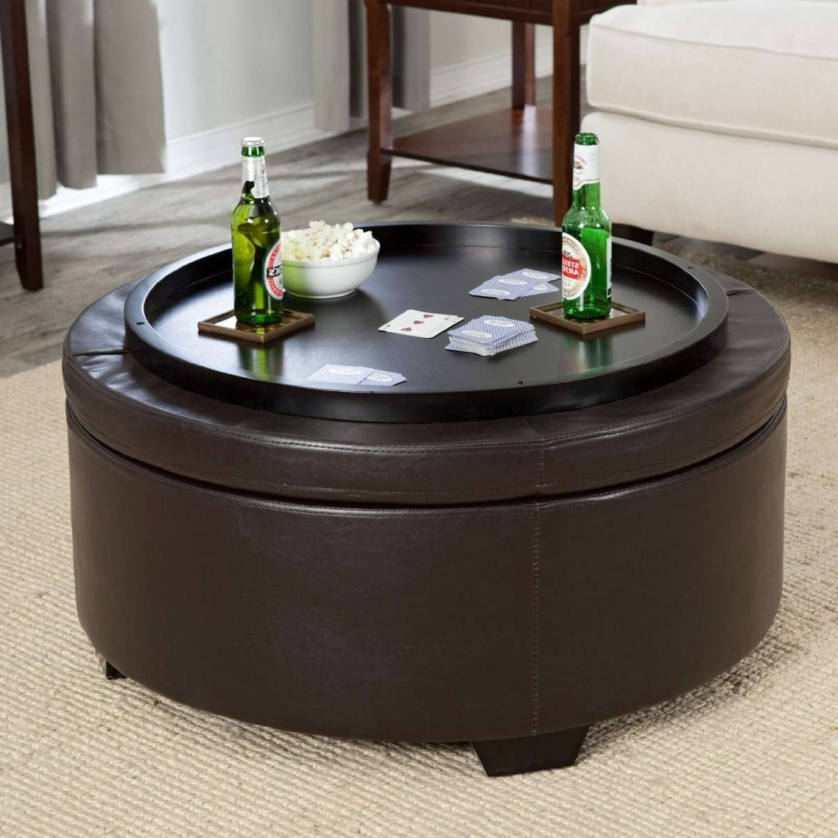 Leather Storage Ottoman Coffee Table — Home Design Ideas Intended For 2018 Round Storage Coffee Tables (View 9 of 20)