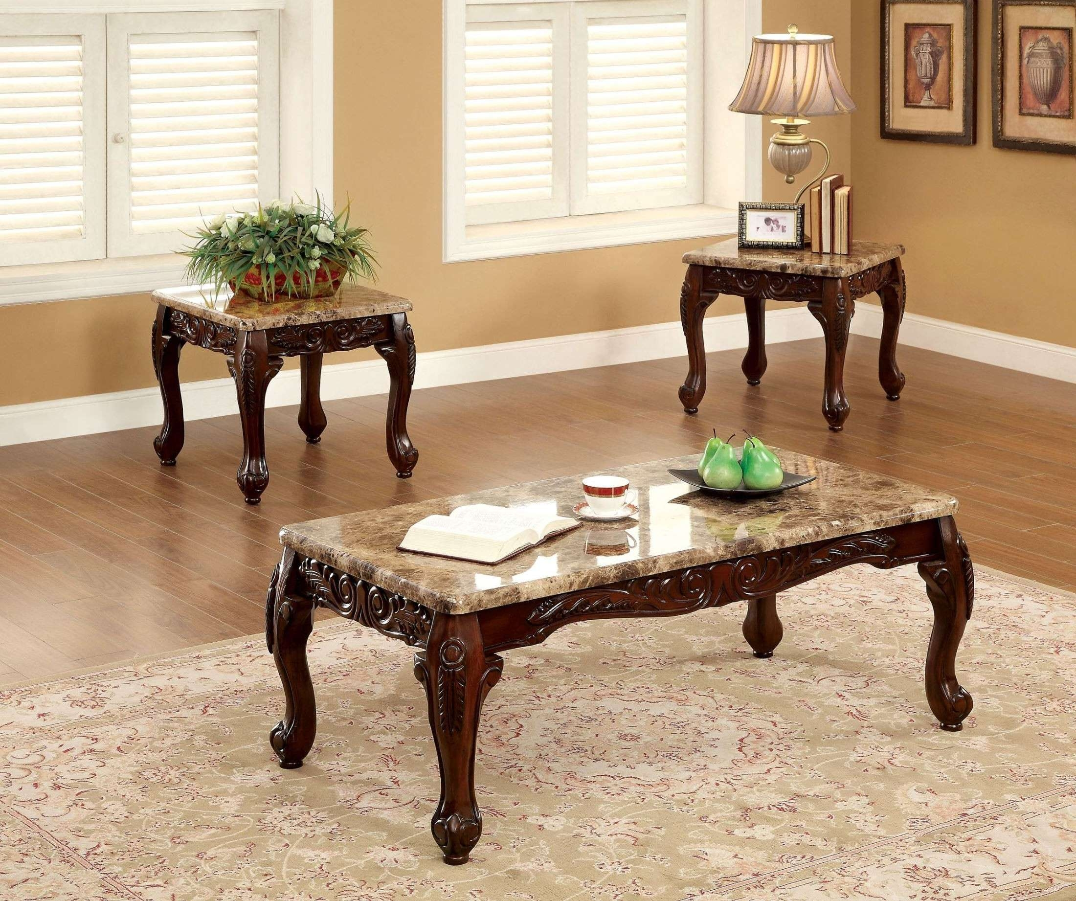 Lechester 3 Piece Occasional Table Set From Furniture Of America In Current Cherry Wood Coffee Table Sets (View 8 of 20)