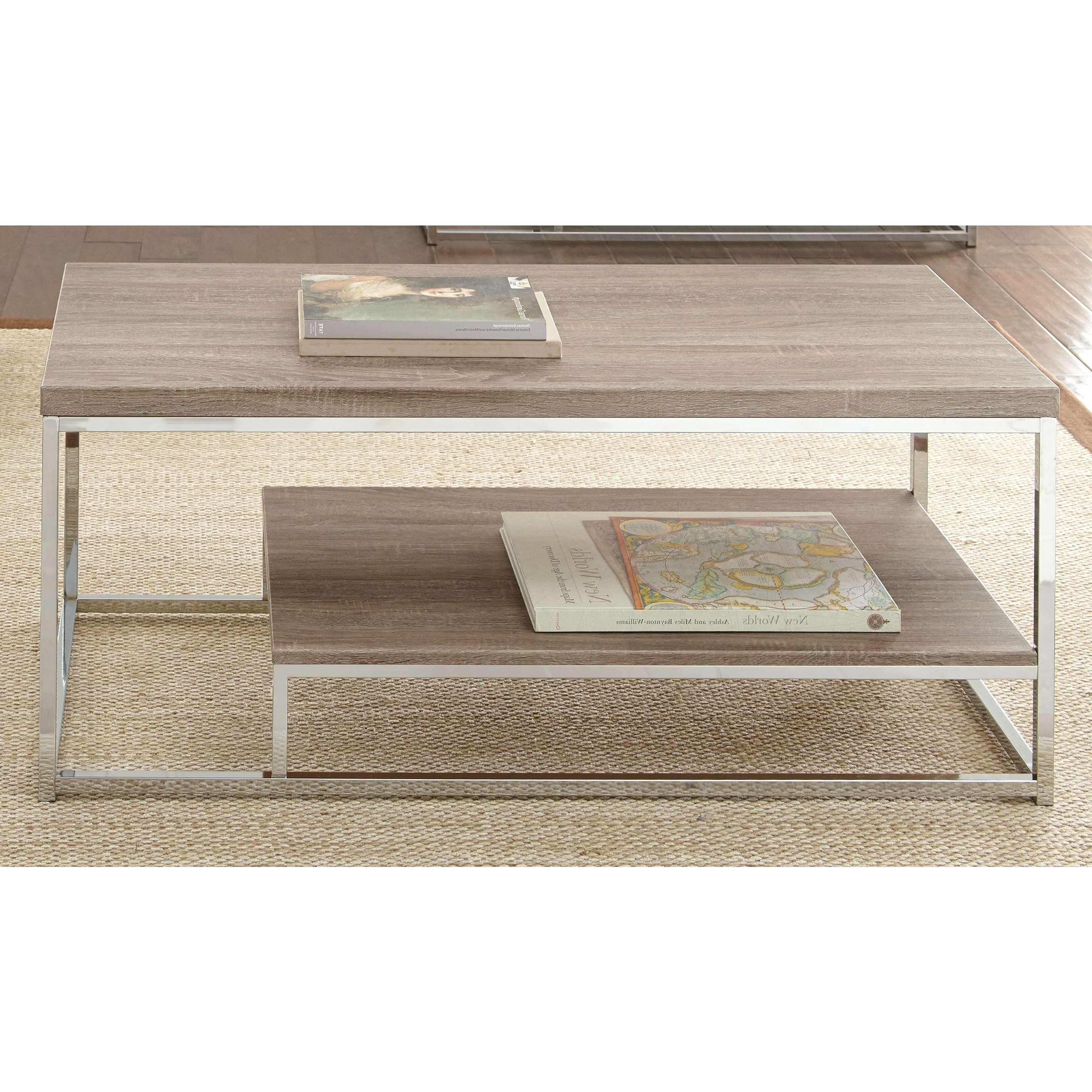 Lennox Chrome And Faux Wood Coffee Tablegreyson Living – Free Throughout Most Popular Chrome And Wood Coffee Tables (View 10 of 20)