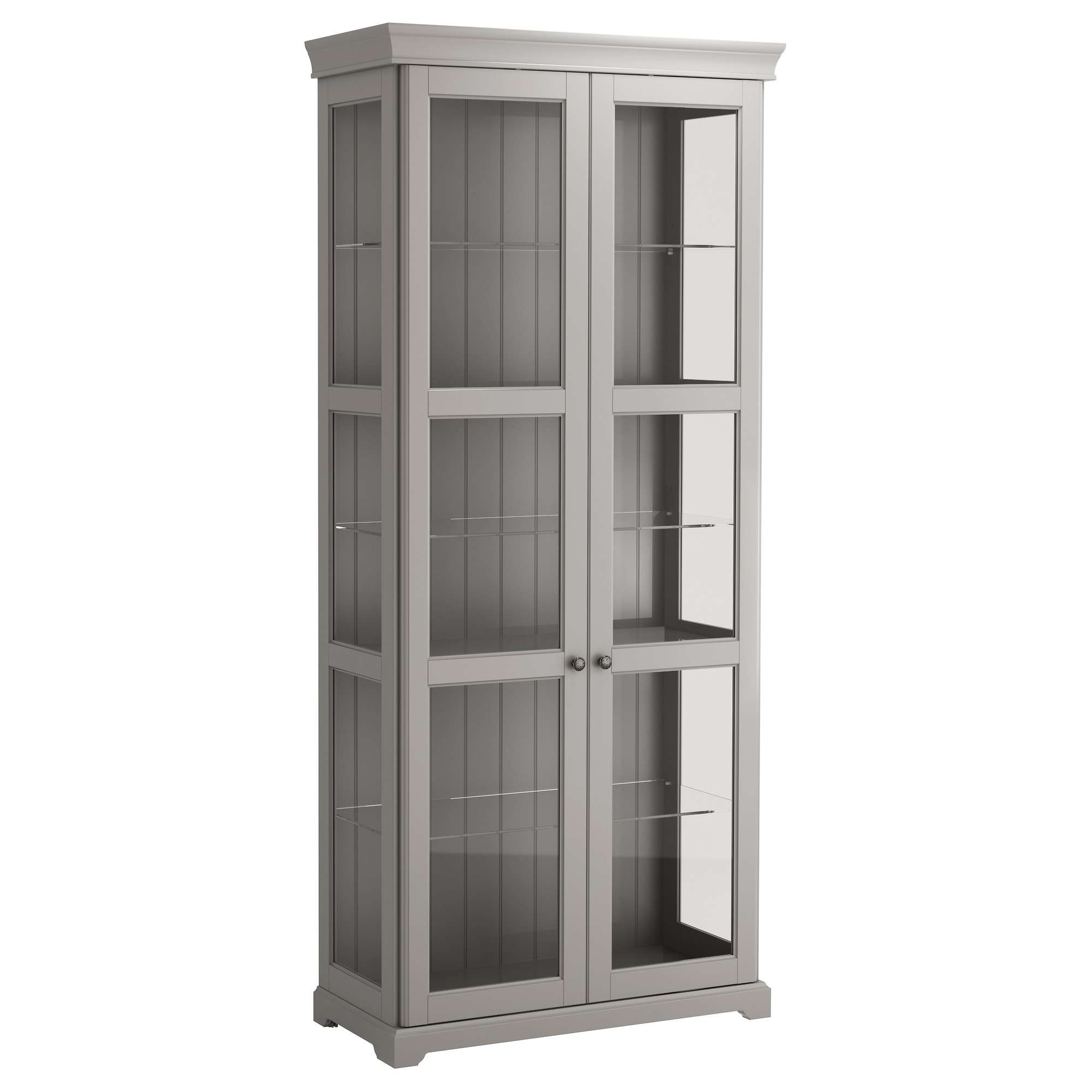 Liatorp Glass Door Cabinet Grey 96x214 Cm – Ikea With Regard To White Sideboards With Glass Doors (View 18 of 20)