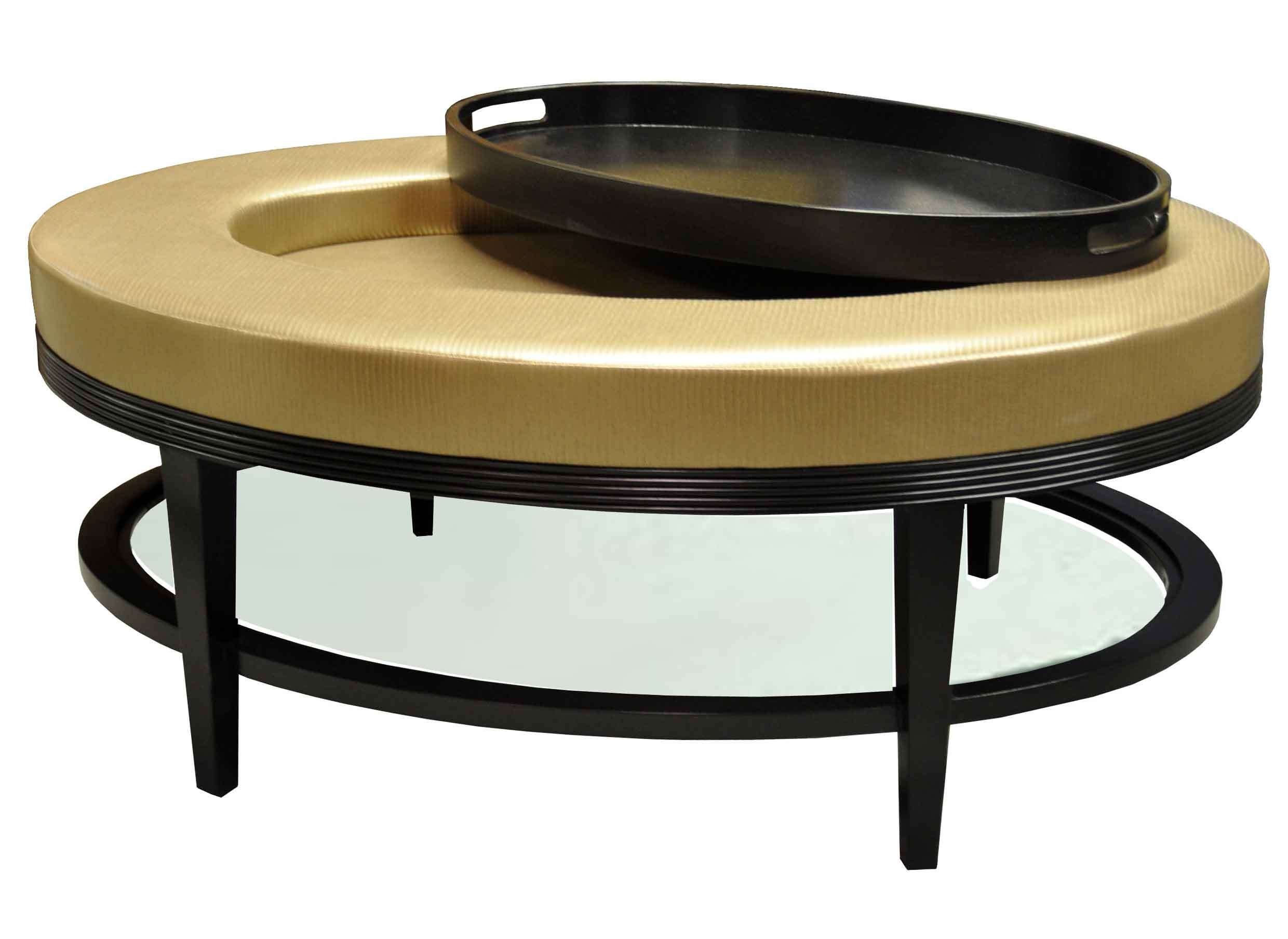 Light Gold Color Round Faux Leather Ottoman Coffe Table With With Regard To Preferred Round Tray Coffee Tables (View 12 of 20)