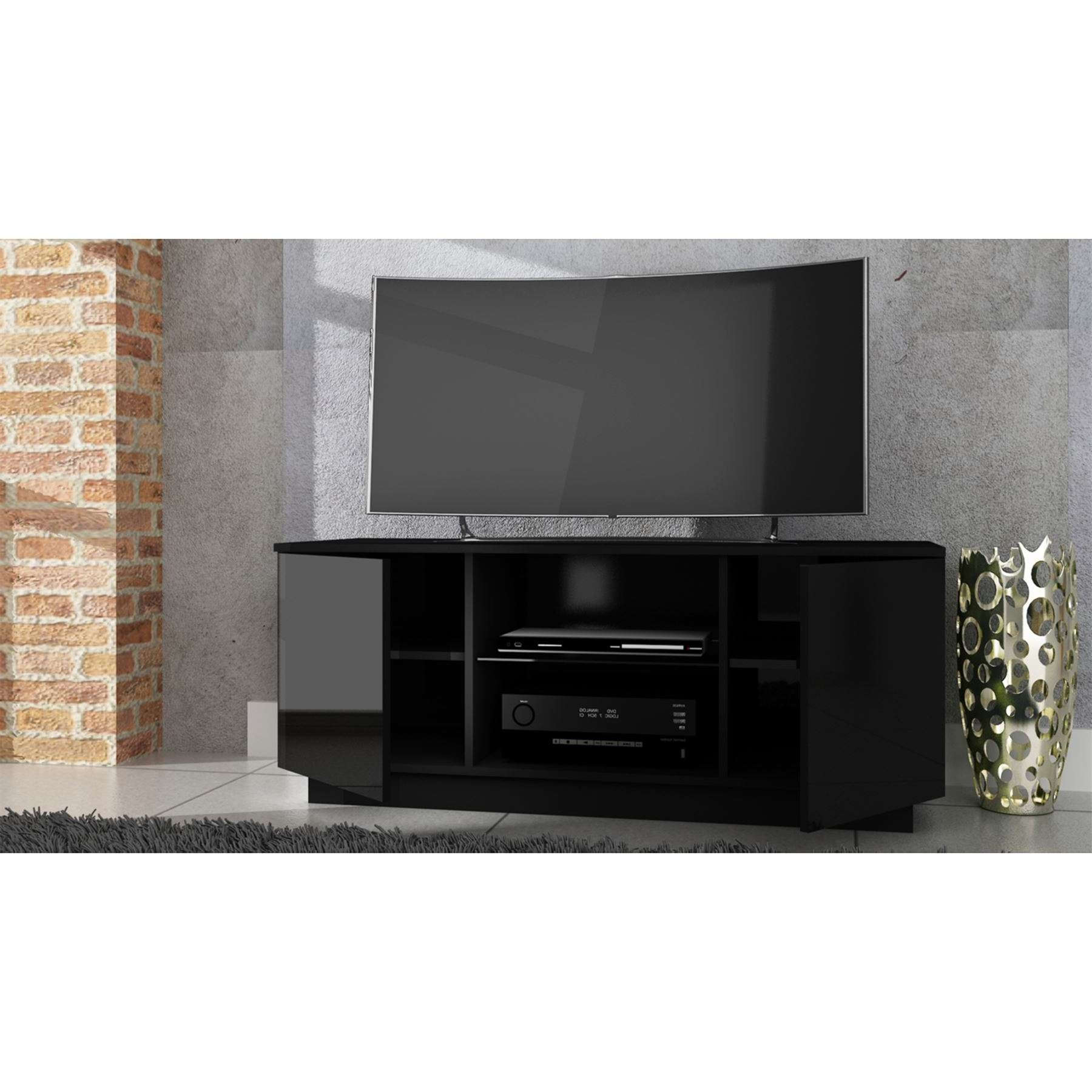 Lima High Gloss Tv Stand Cabinet Entertainment Unit Suitable Up To Regarding Black Gloss Tv Cabinets (View 3 of 20)