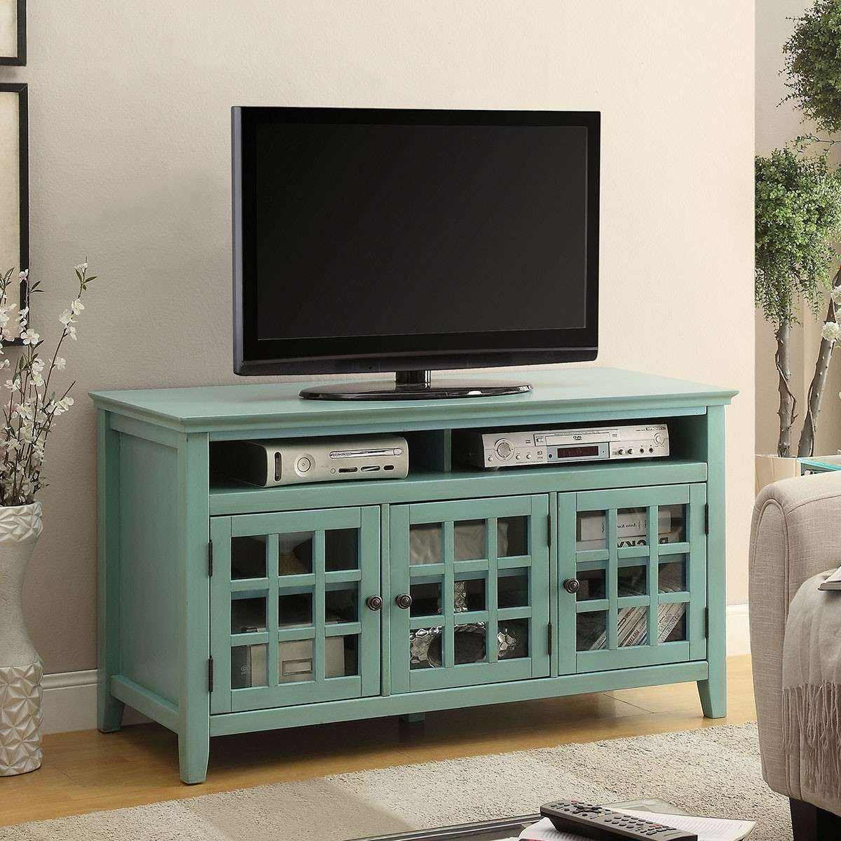 "Linon 650202Trq01U Largo 48"" Antique Turquoise Media Cabinet Tv In Glass Fronted Tv Cabinets (View 4 of 20)"
