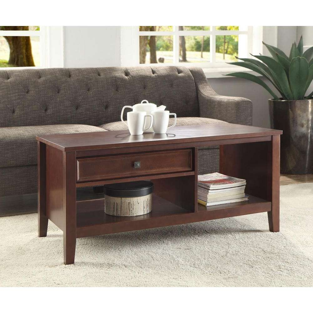 Linon Home Decor Wander Cherry Built In Storage Coffee Table With Regard To Preferred Storage Coffee Tables (View 12 of 20)