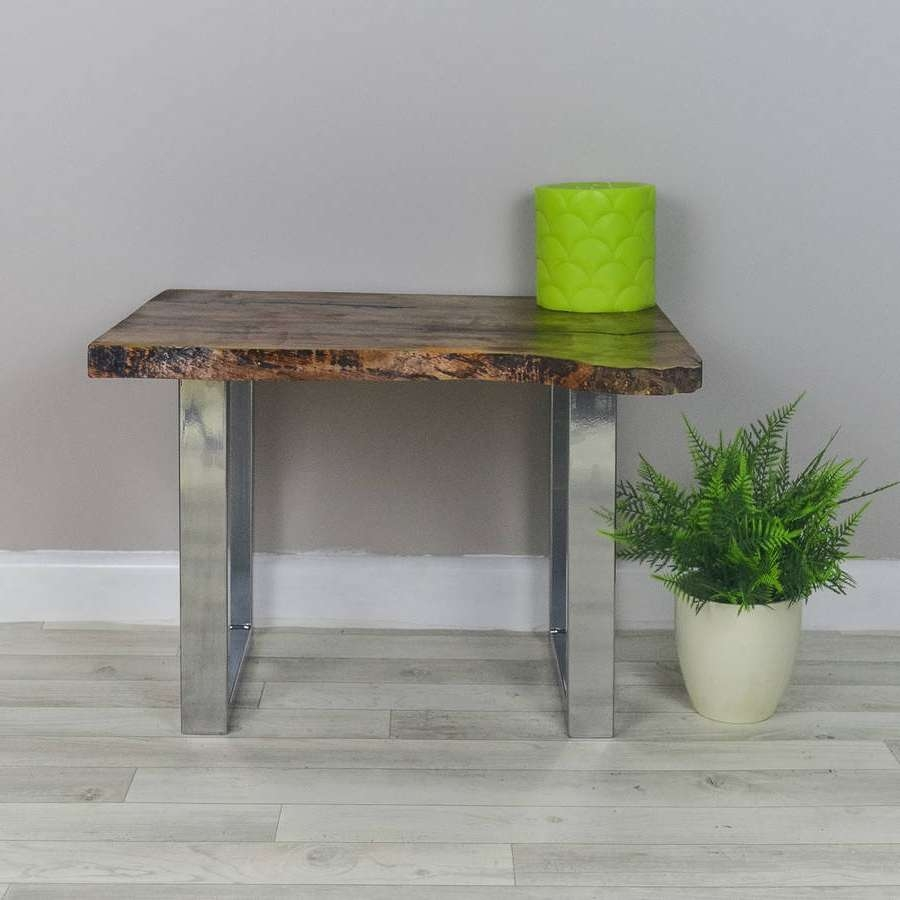 Live Edge Walnut Side Table On Chrome Legsfrances Bradley Intended For Famous Coffee Tables With Chrome Legs (View 10 of 20)