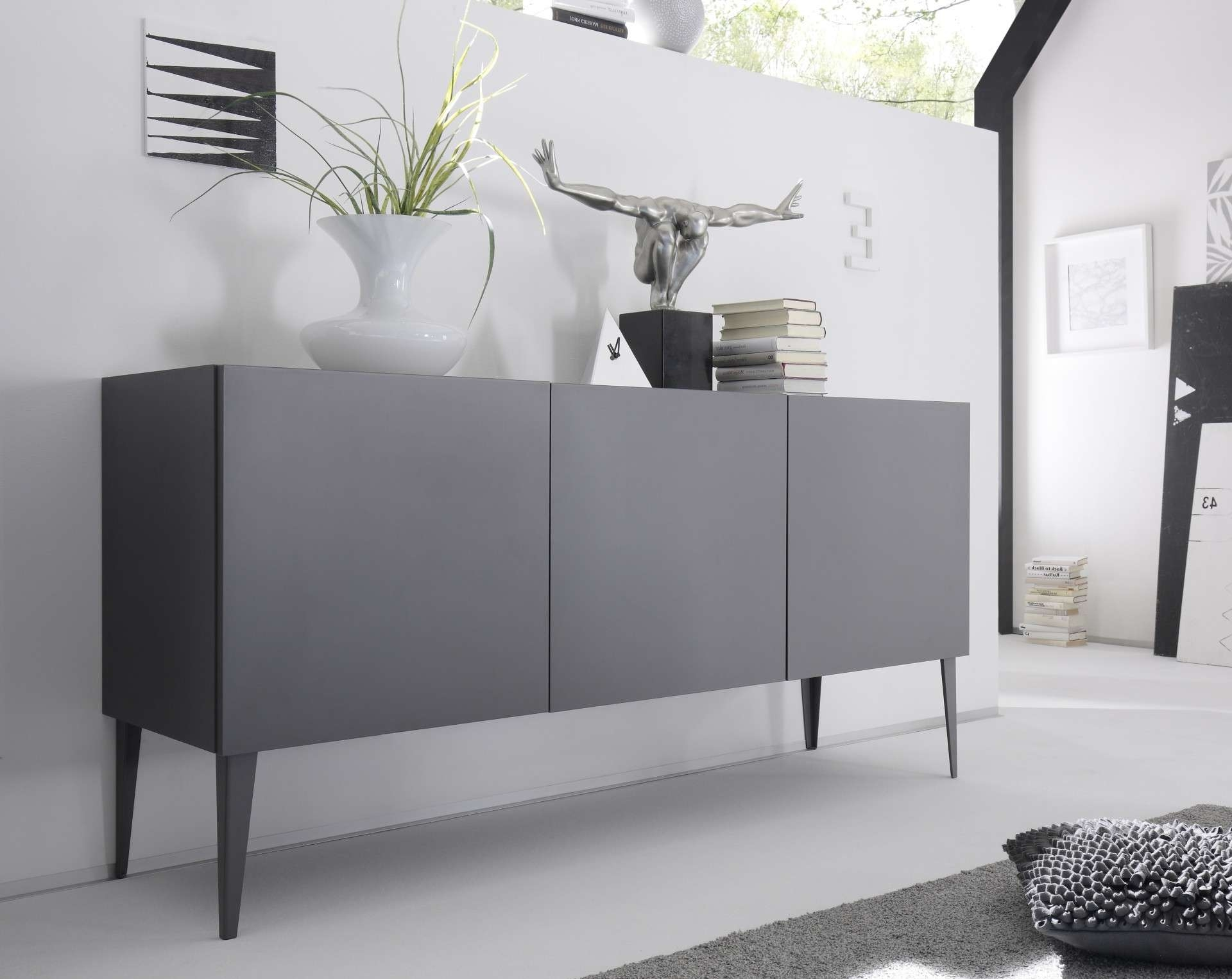 Livia – Grey Or White Matt Lacquered Sideboard – Sideboards – Sena Inside Grey Sideboards (View 10 of 20)