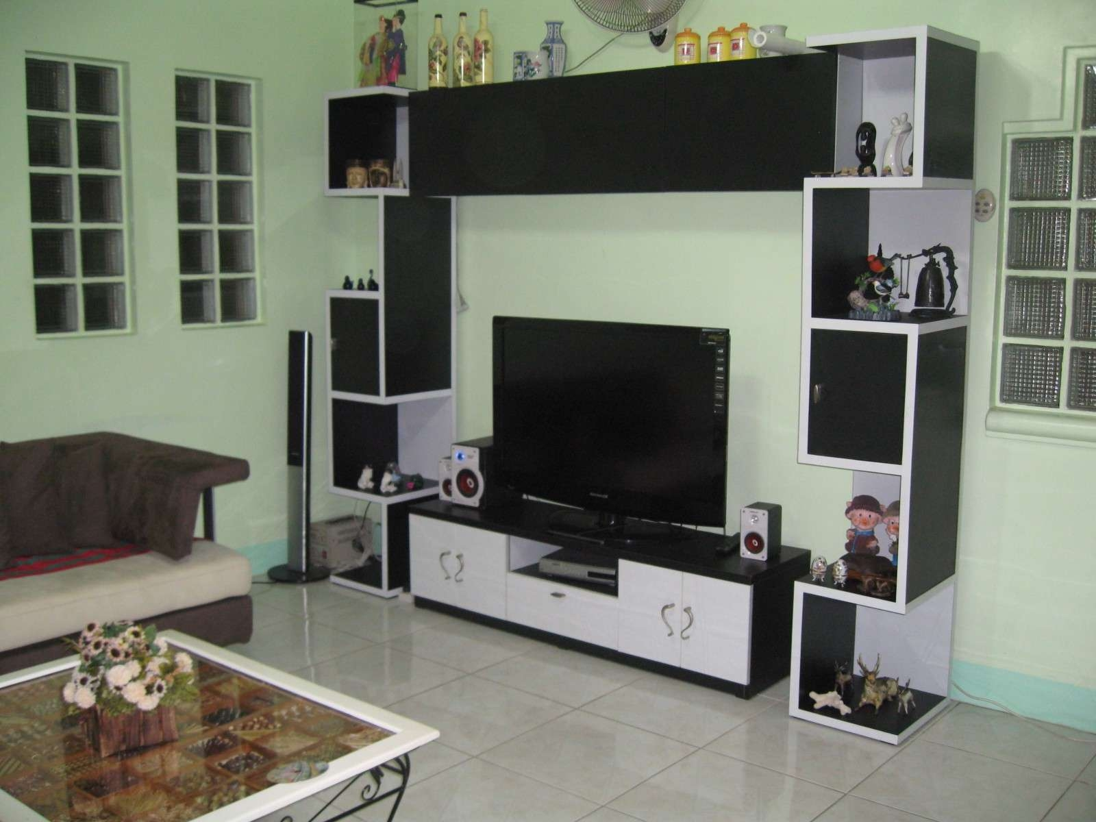 Living Room : Beautiful White Black Glass Wood Modern Design With Regard To Wall Display Units And Tv Cabinets (View 10 of 20)