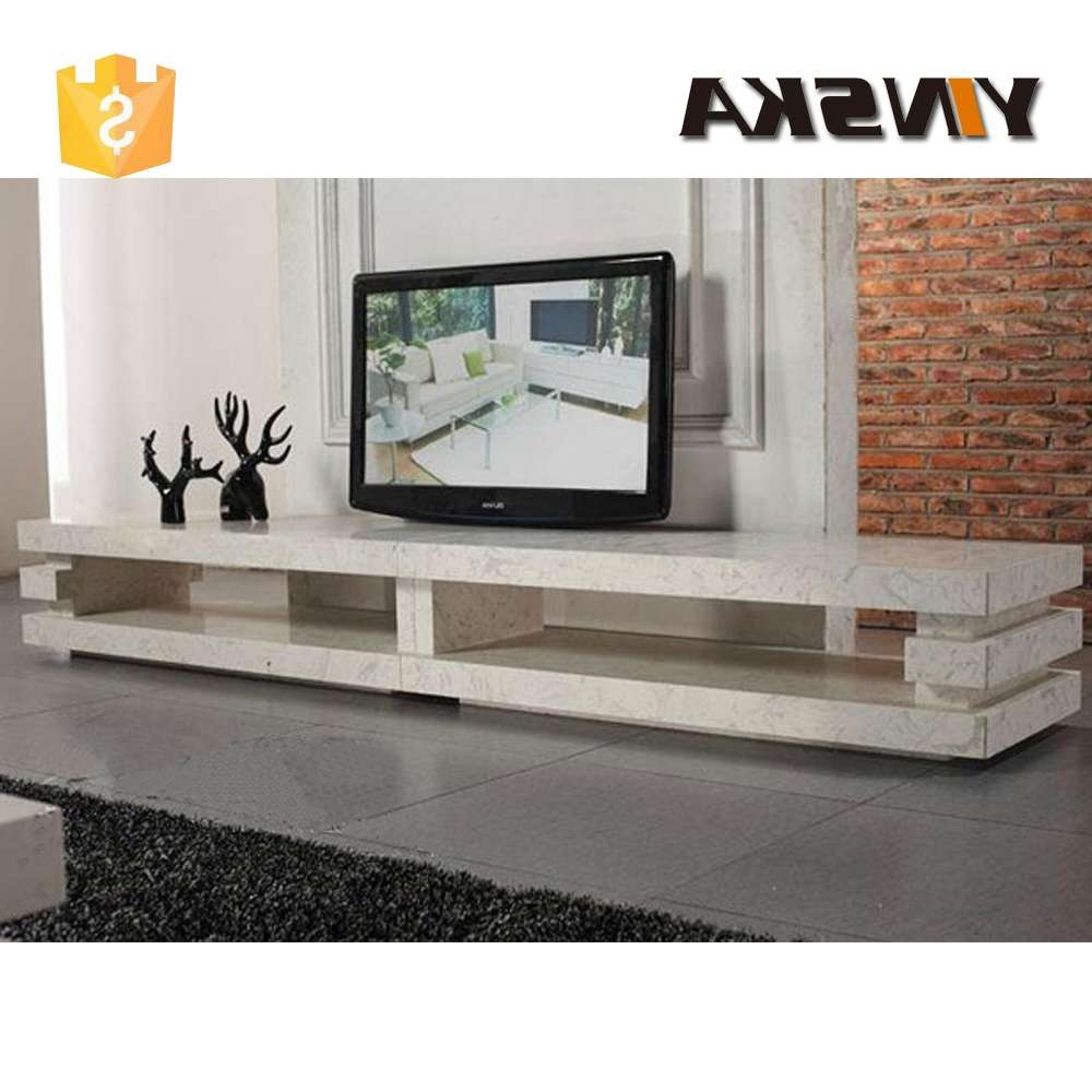 Living Room Furnture 3 Layer Design Long Travertine Marble Tv Within Long Tv Cabinets Furniture (View 12 of 20)