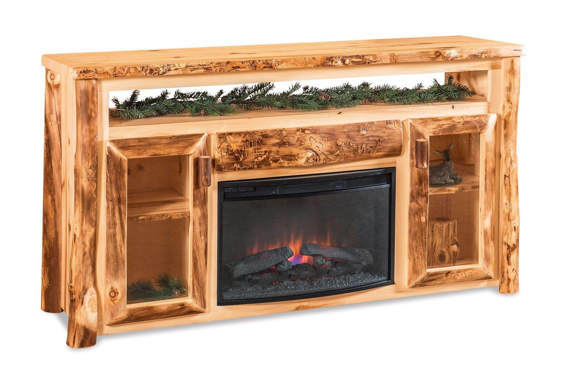 Log Tv Cabinet With Electric Fireplace For Rustic Tv Cabinets (View 8 of 20)