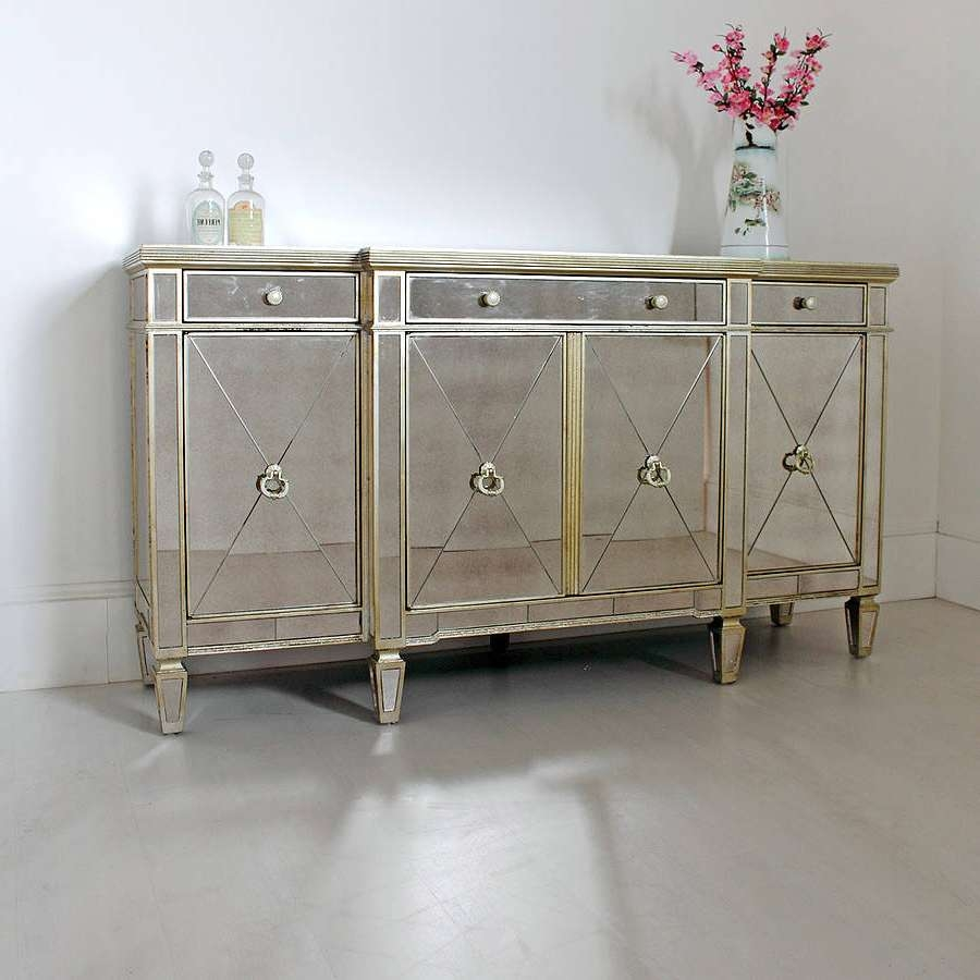 Long Antique Mirrored Sideboard — All About Home Design : Mid Throughout Mirrored Sideboards And Buffets (View 7 of 20)