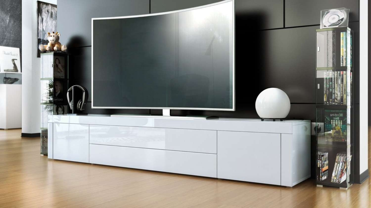 Long White Tv Cabinet | Izfurniture Inside Tv Cabinets Gloss White (View 9 of 20)