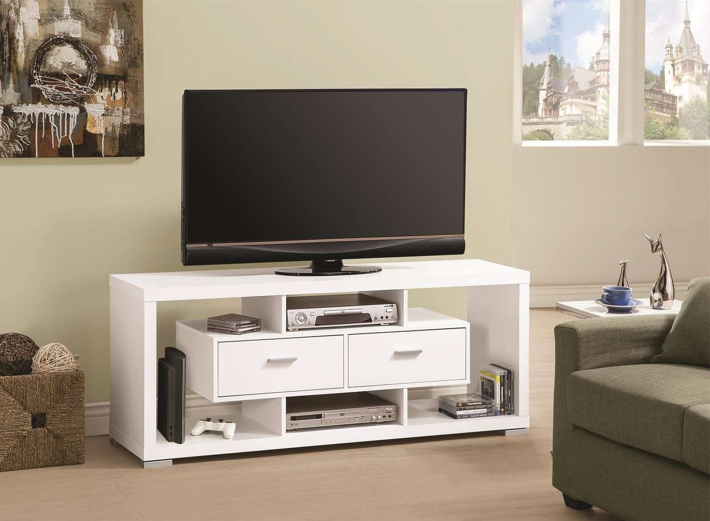 Long White Tv Cabinet | Izfurniture Inside White Wood Tv Cabinets (View 7 of 20)