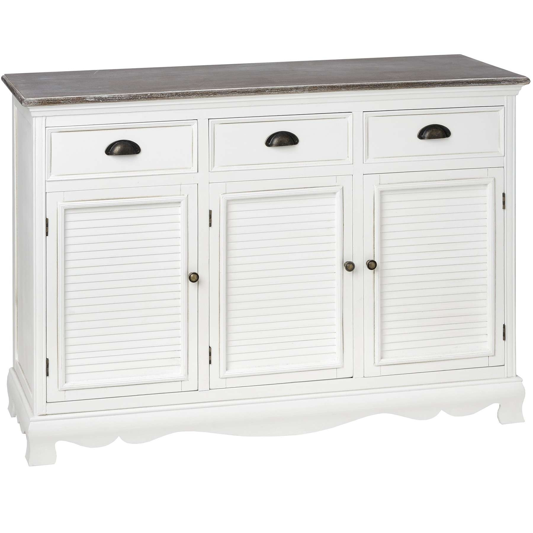 Louisiana Large White Sideboard With 3 Doors| Bedroom Furniture Direct For Large White Sideboards (View 6 of 20)