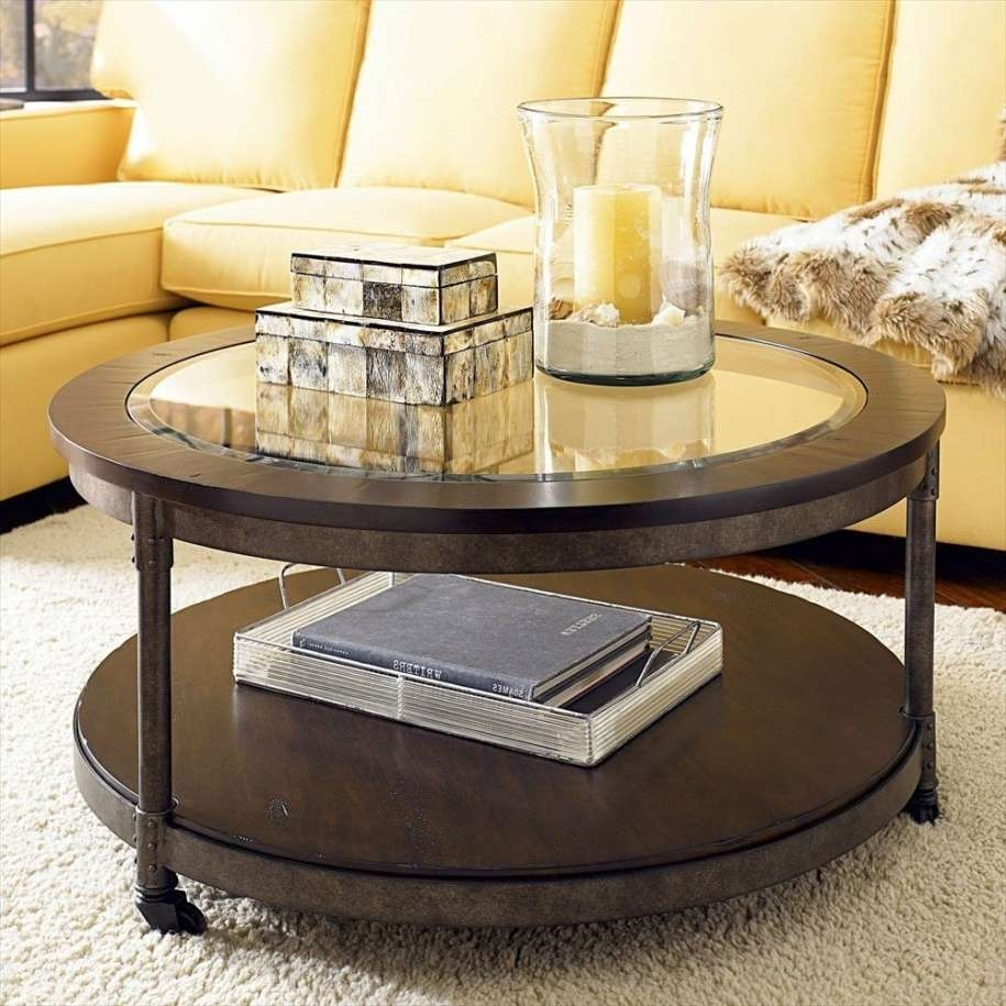 Lovely Round Glass Top Coffee Table With Storage Idea Plus Yellow With Recent Round Glass And Wood Coffee Tables (View 10 of 20)