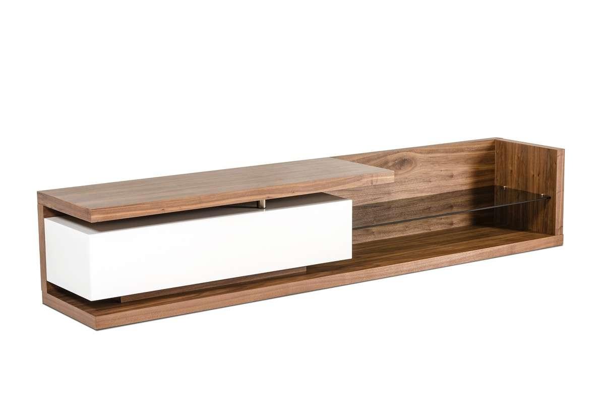 Low Profile Walnut Tv Media Stand With Glass Shelf Philadelphia Inside Walnut Tv Cabinets With Doors (View 11 of 20)