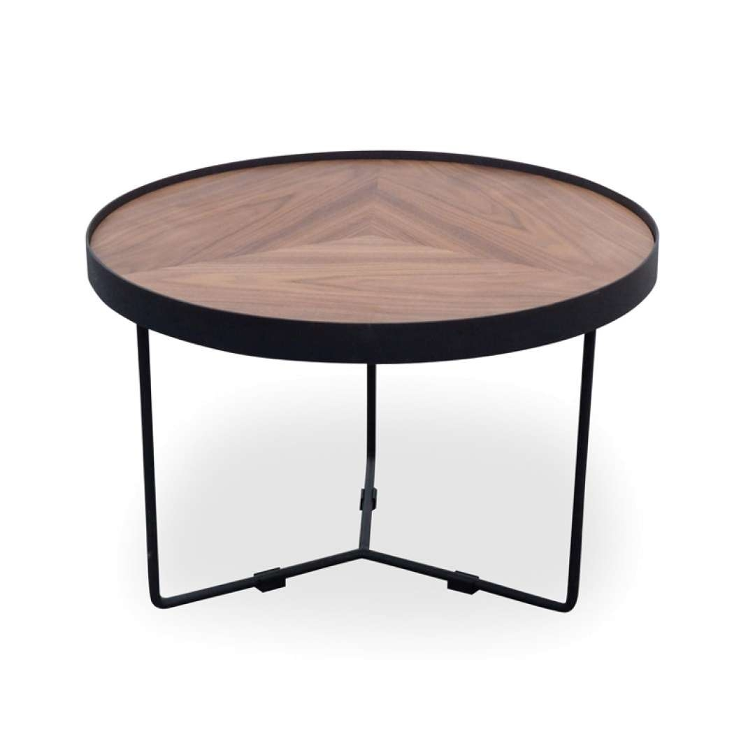 Luna 60x41cm Round Coffee Table – Walnut Top – Black Frame Throughout Popular Luna Coffee Tables (View 6 of 20)