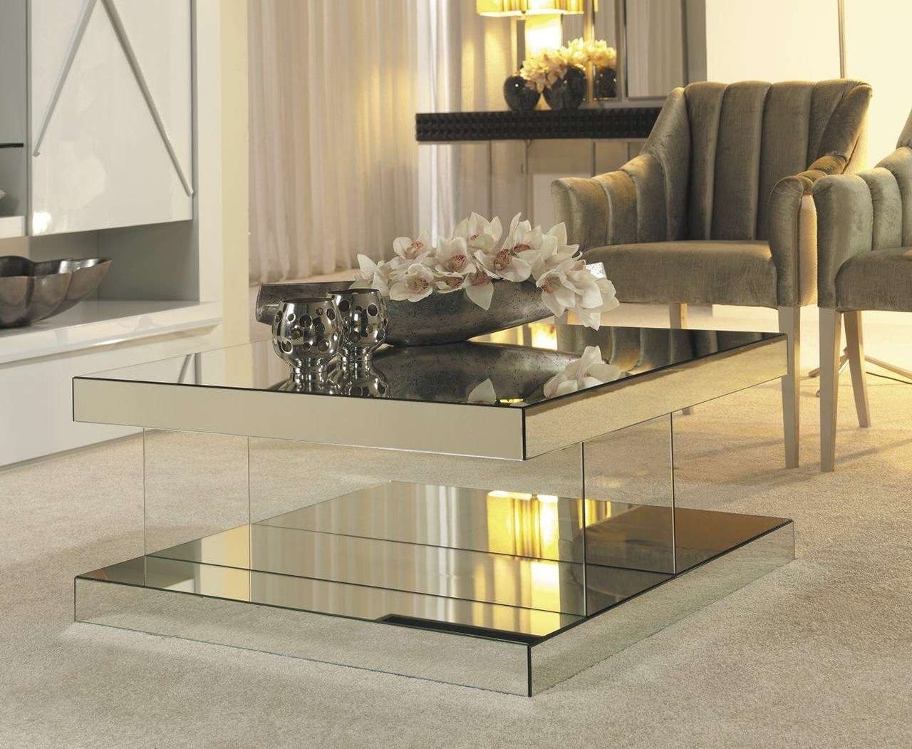 Luxury Mirrored Coffee Table — Cabinets, Beds, Sofas And Throughout Most Current Mirror Glass Coffee Table (View 9 of 20)