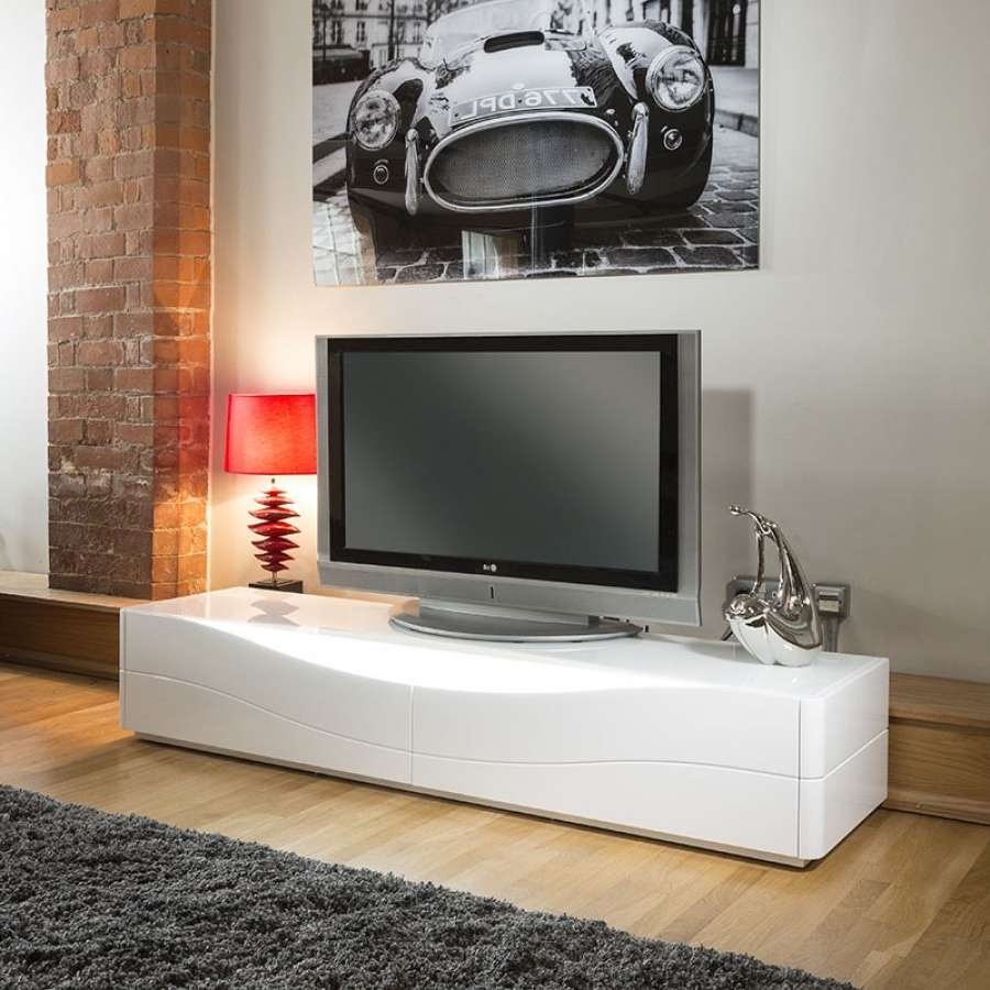 Luxury Modern Tv Stand / Cabinet / Unit White Gloss Led Lighting For Long  White Tv