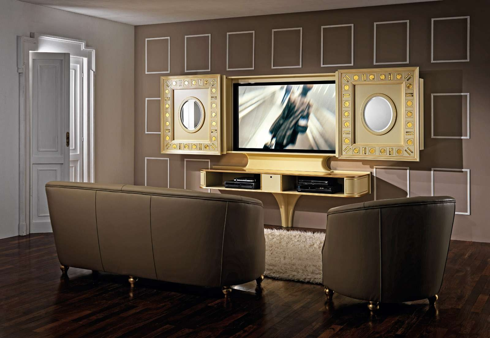Luxury Tv Stand With Doors Producedvismara Design In Italy Pertaining To Gold Tv Cabinets (View 13 of 20)