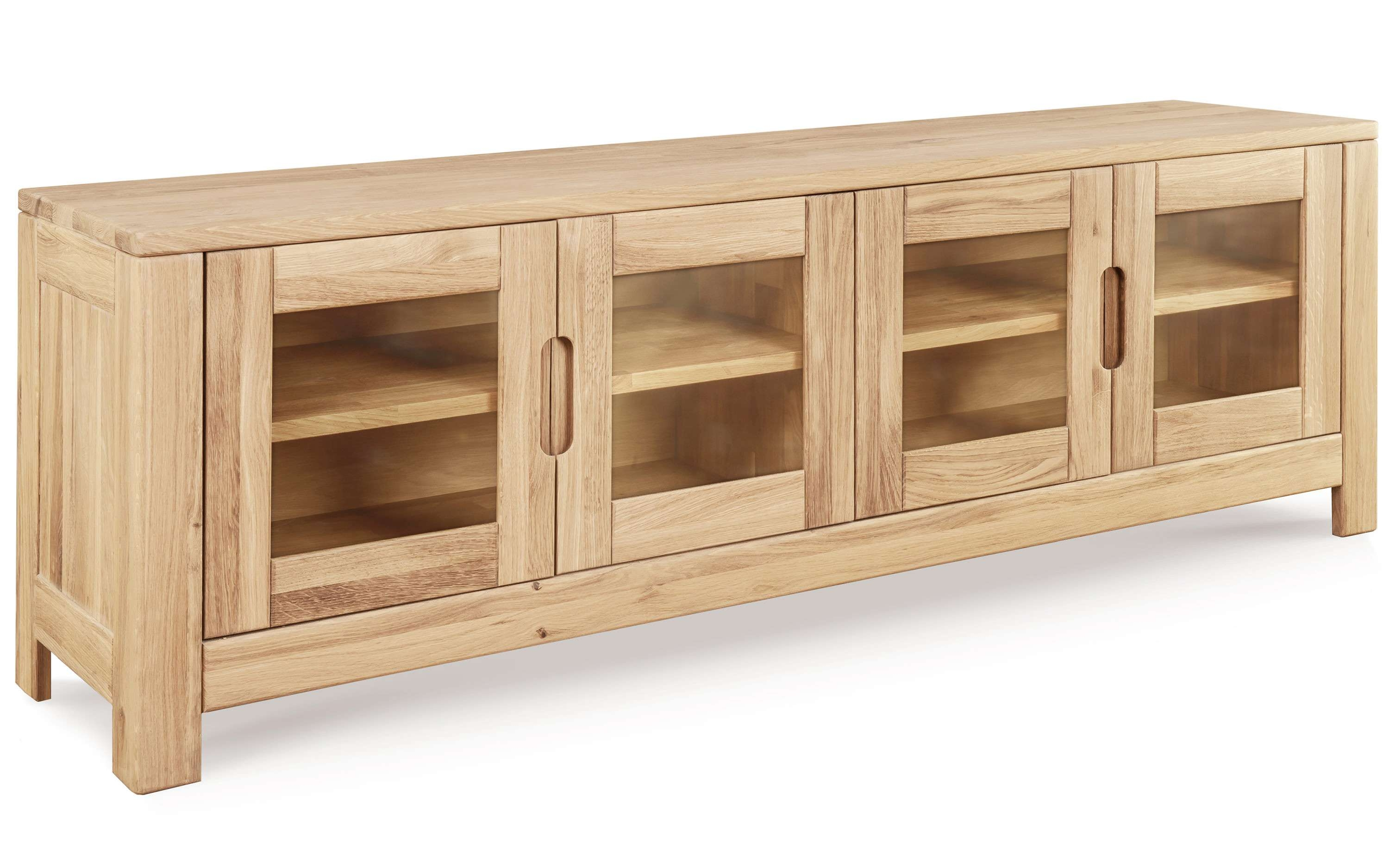Lyon 4 Door Tv Unit | Solid Oak Within Oak Tv Cabinets With Doors (View 7 of 20)
