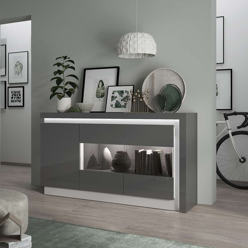 Lyon High Gloss Sideboard In Grey With Led Inside High Gloss Sideboards (View 8 of 20)
