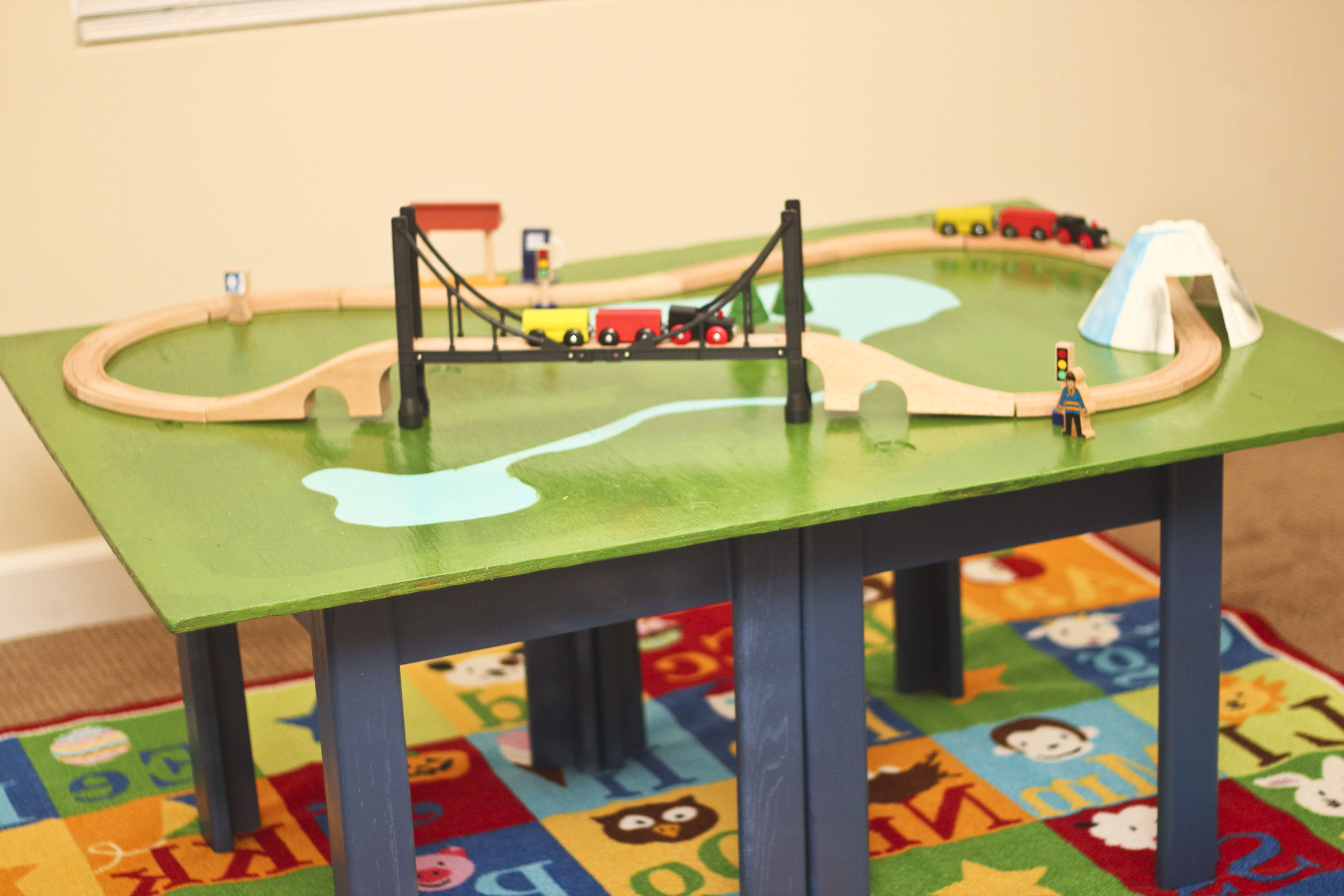 Make A Train Table With Plywood And A Coffee Table! – Honeybear Lane In Best And Newest Kids Coffee Tables (View 6 of 20)