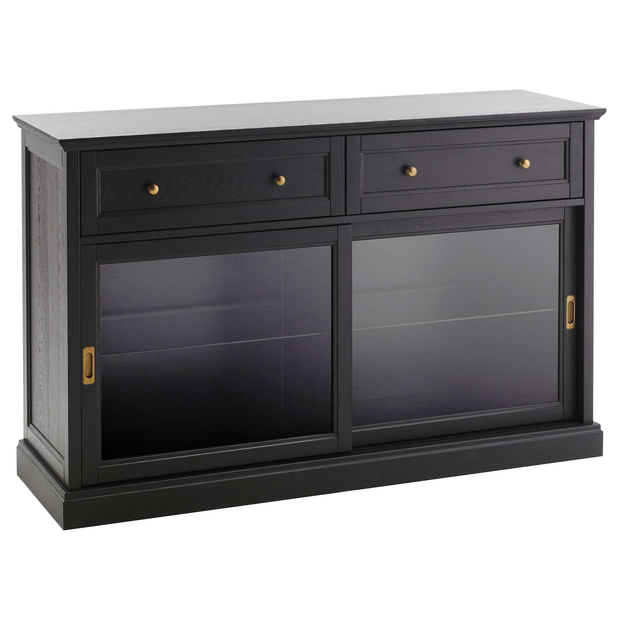 Malsjö Sideboard Basic Unit Black Stained 145x92 Cm – Ikea Inside Glass Door Buffet Sideboards (View 18 of 20)