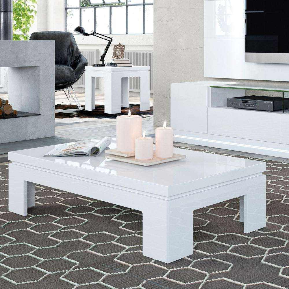 Manhattan Comfort Bridge White Gloss Coffee Table 2 8465284752 With Regard To Most Up To Date White Gloss Coffee Tables (View 3 of 20)