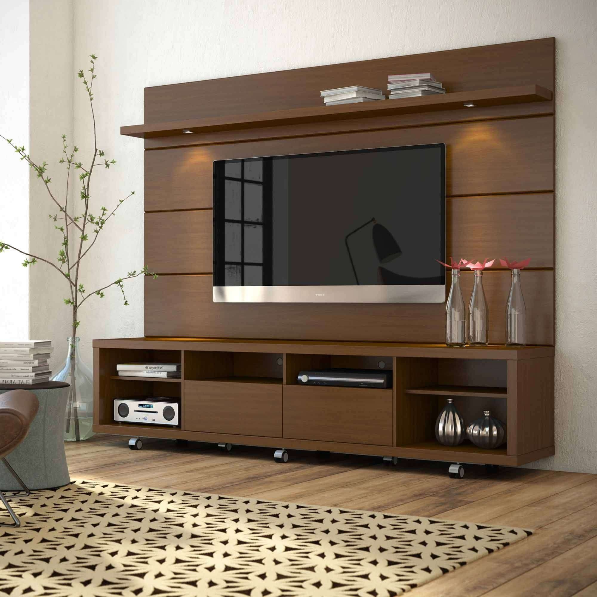 Manhattan Comfort Cabrini Tv Stand And Floating Wall Tv Panel With In Led Tv Cabinets (View 14 of 20)