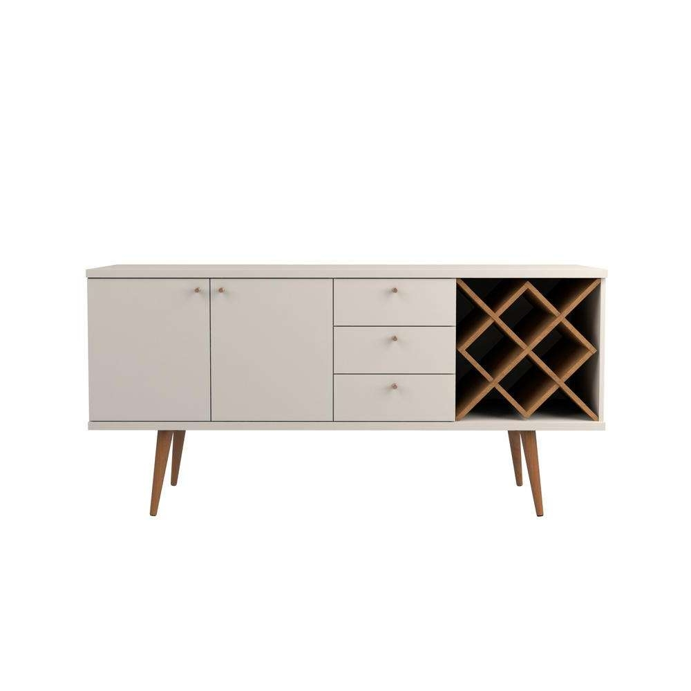 Manhattan Comfort Utopia Off White And Maple Cream 4 Bottle Wine In Cream Kitchen Sideboards (View 13 of 20)