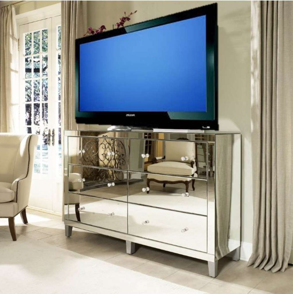 Manhattan Glamour Style: Using A Mirrored Dresser As A Media Inside Mirrored Tv Cabinets Furniture (View 5 of 20)