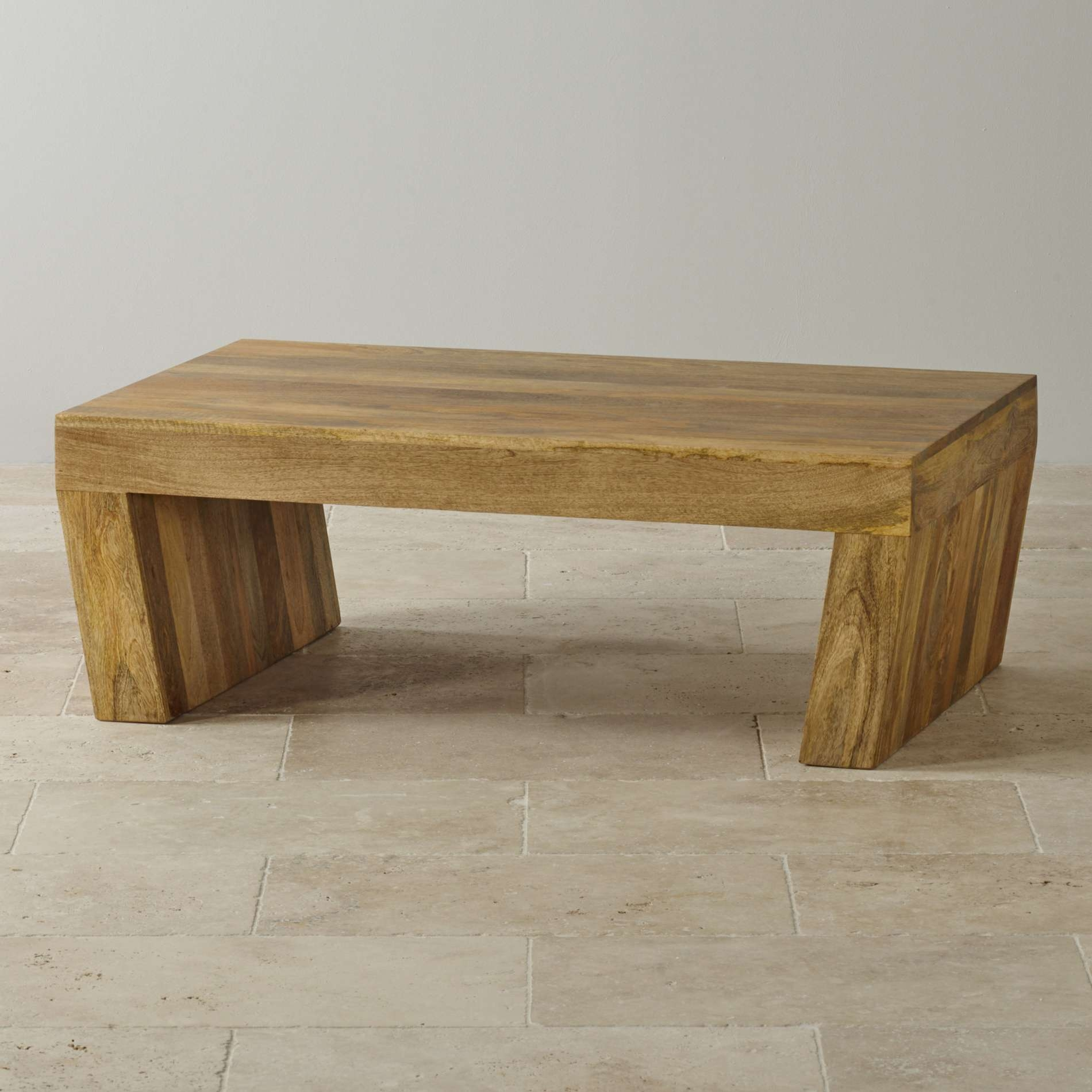 Mantis Light Natural Solid Mango Coffee Table With Angled Legs Intended For Latest Chunky Wood Coffee Tables (View 19 of 20)