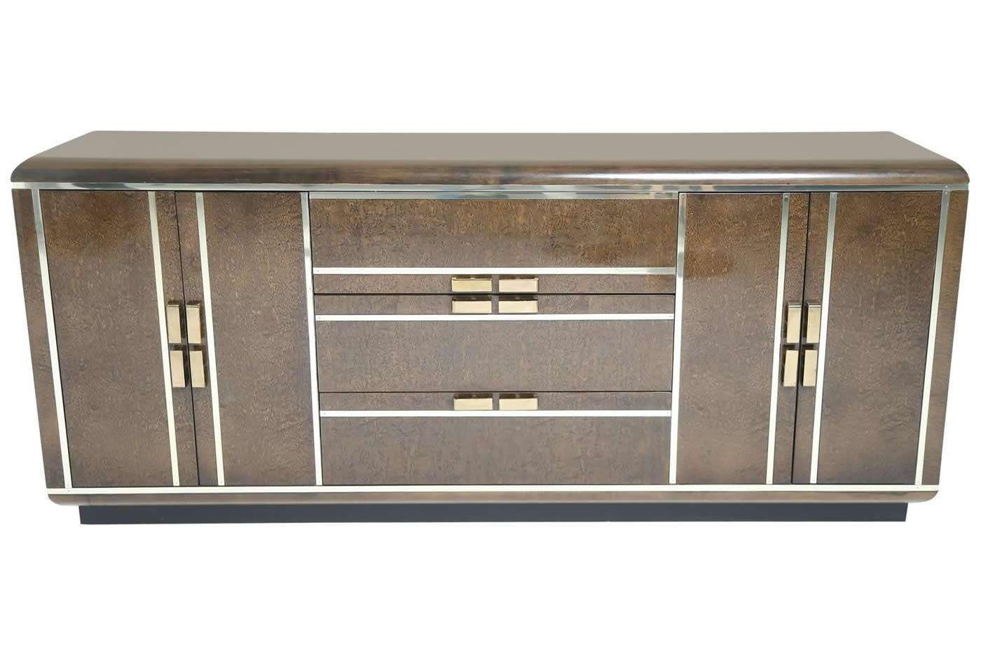 Maple Burl Sideboard With Brass Trim From Romweber For Sale At Pamono Within Maple Sideboards (View 8 of 20)