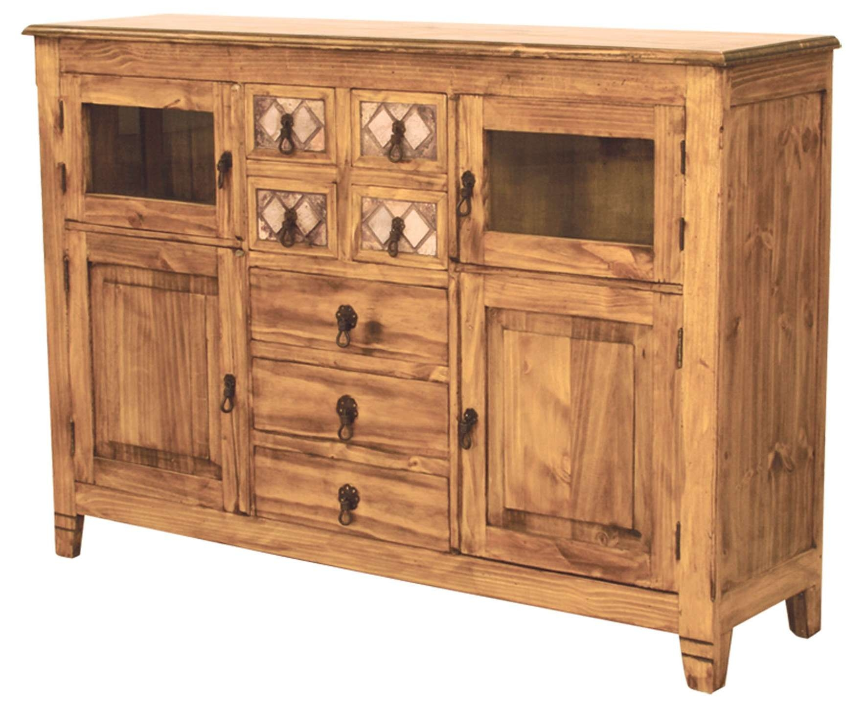 Marble And Pine Rustic Sideboard And Buffet Dining Furniture Intended For Rustic Sideboards And Buffets (View 16 of 20)