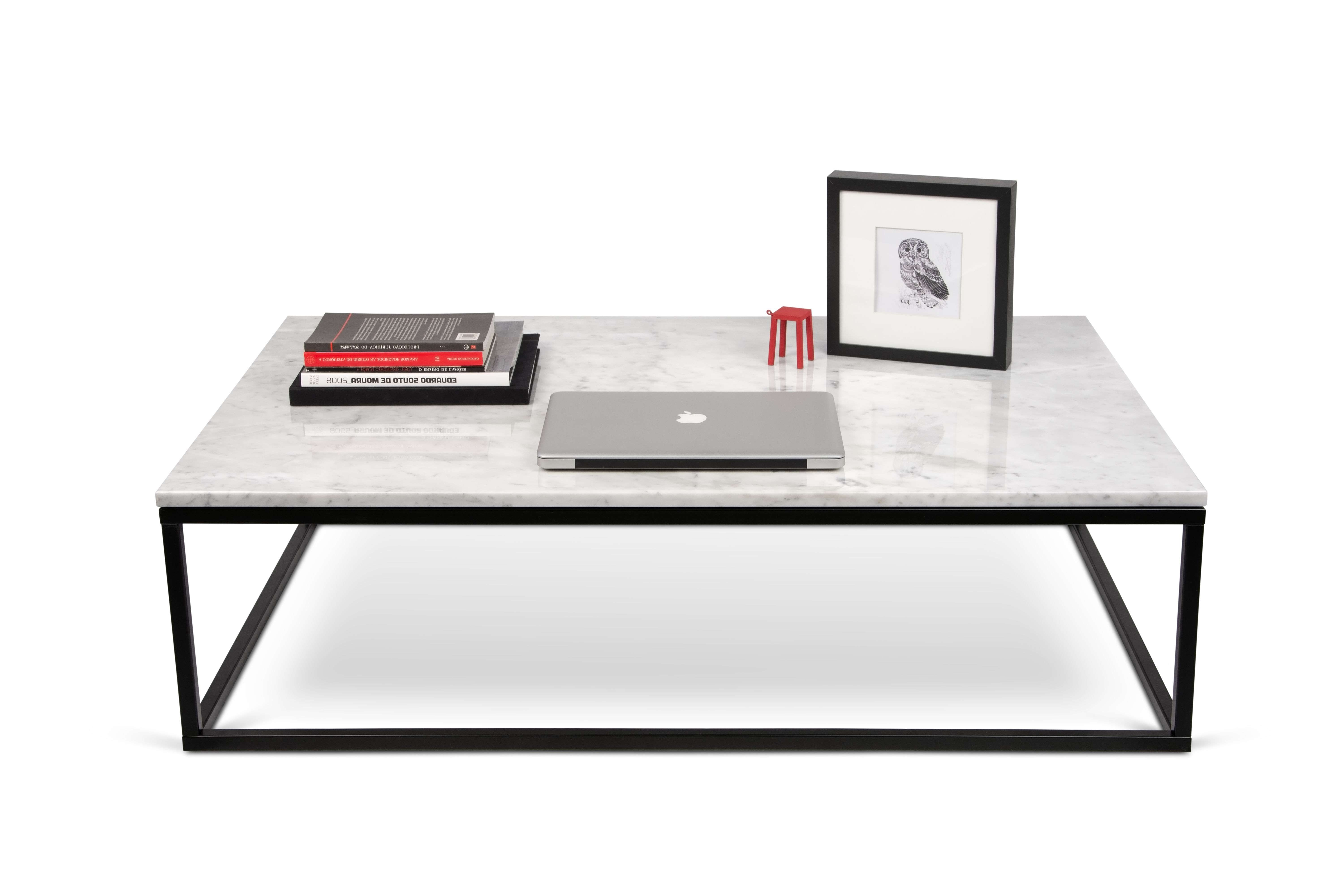 Marble Coffee Table – / Marble – 120 X 75 Cm White Marble / Black Intended For Recent White And Black Coffee Tables (View 11 of 20)